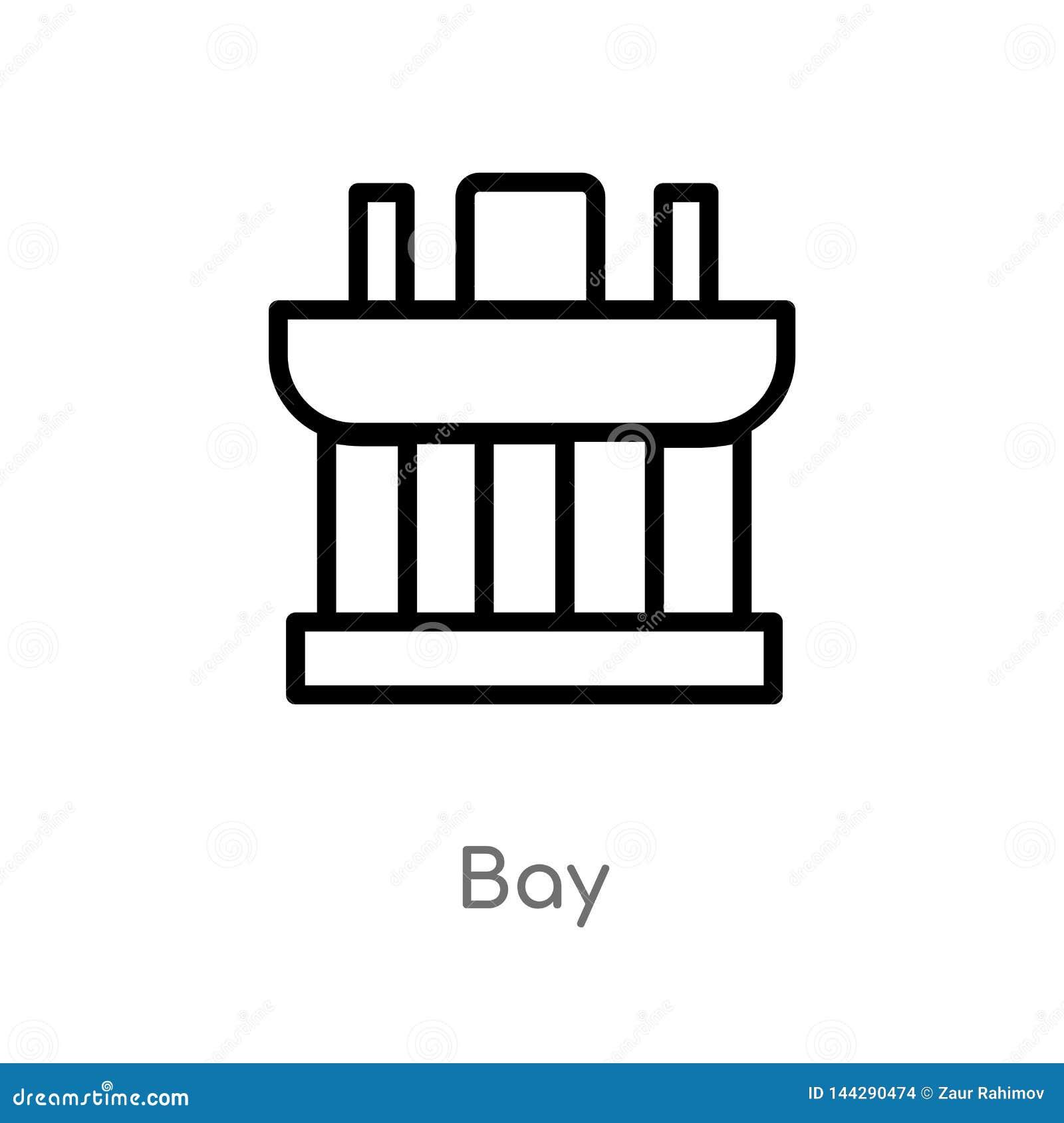 значок вектора залива плана изолированная черная простая линия иллюстрация элемента от концепции памятников editable значок залив