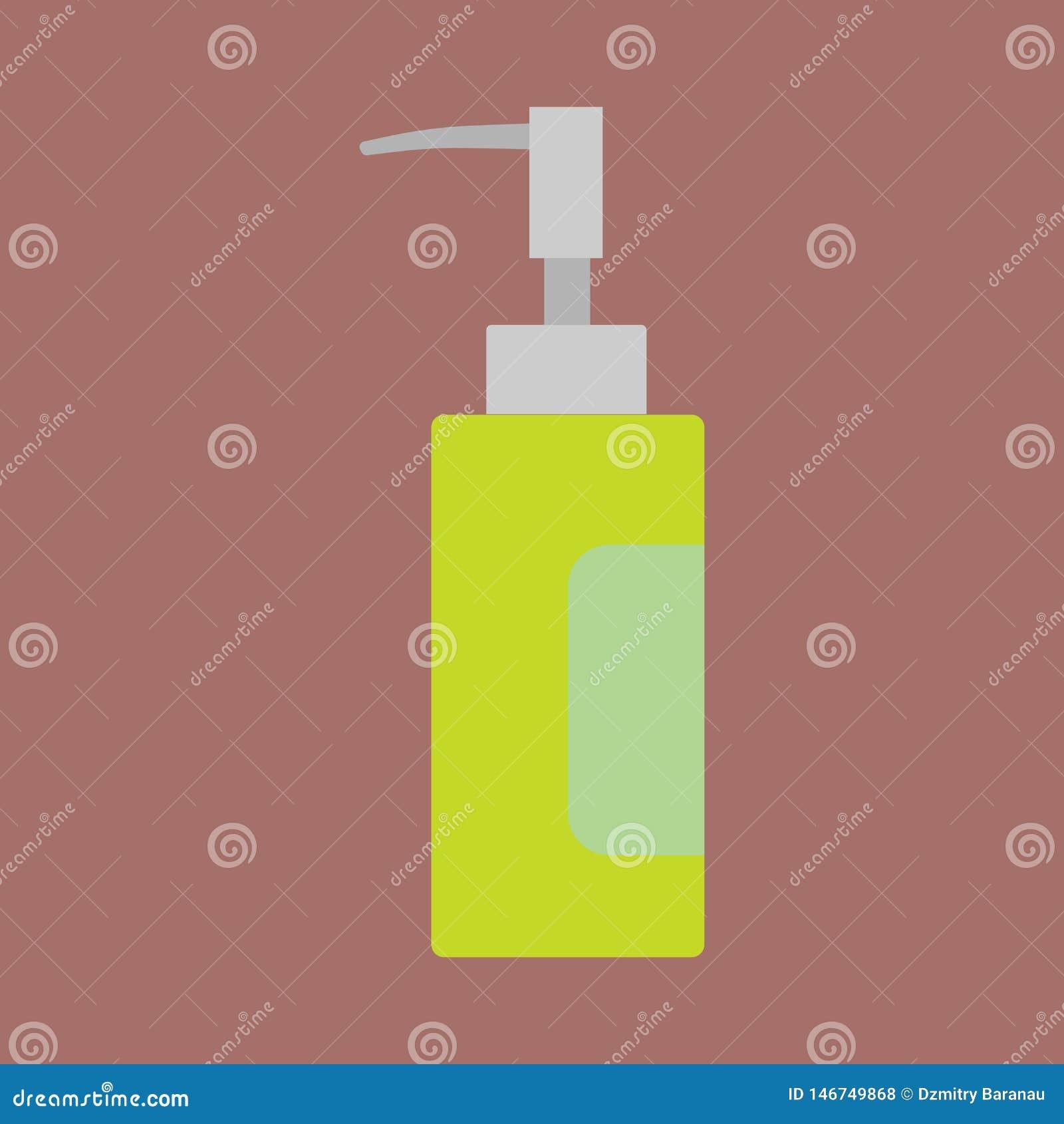 Значок вектора контейнера косметик заботы флакона духов жидкостный плоско Знак ретро ароматичных женщин крупного плана зеленый ст