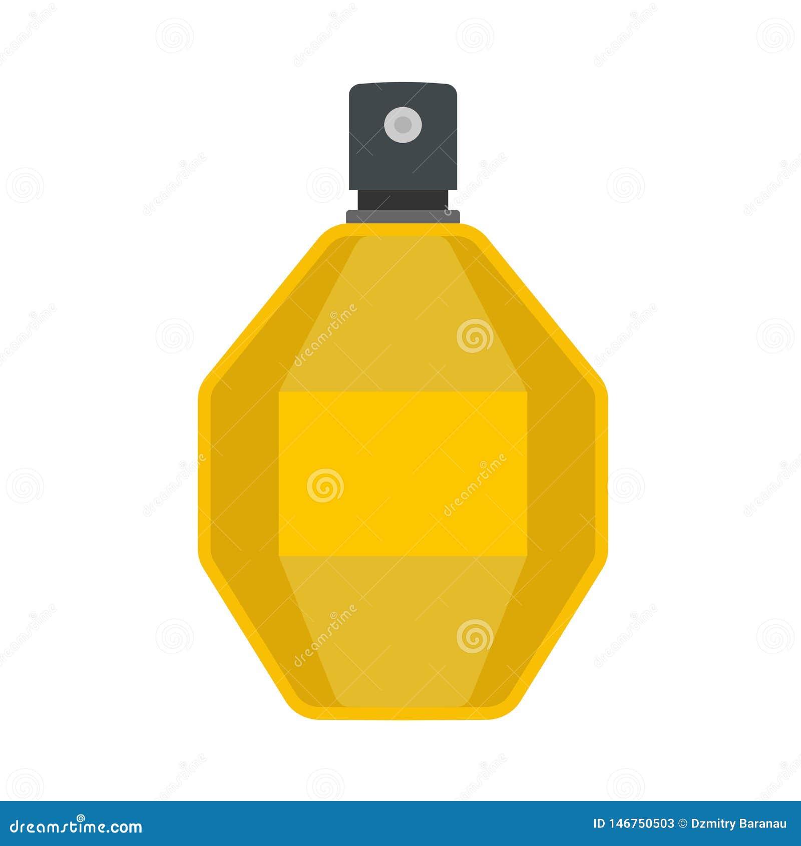 Значок вектора контейнера косметик заботы флакона духов жидкостный плоско Знак ретро ароматичных женщин крупного плана желтый сте