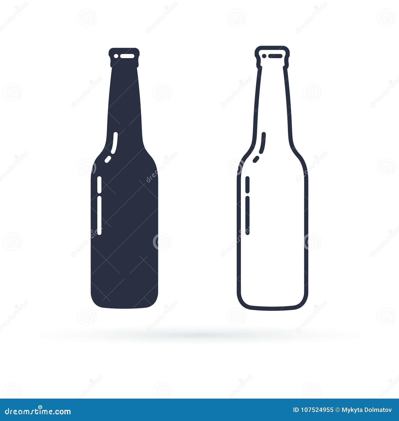 Значок вектора пивной бутылки Заполненное питье спирта и линия значки установили на белую предпосылку