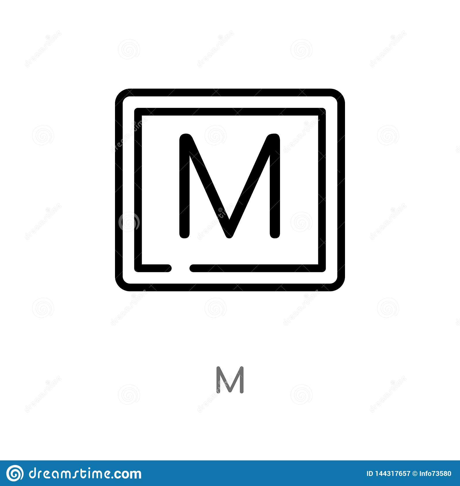 значок вектора плана m изолированная черная простая линия иллюстрация элемента от сигнализировать концепцию editable значок хода