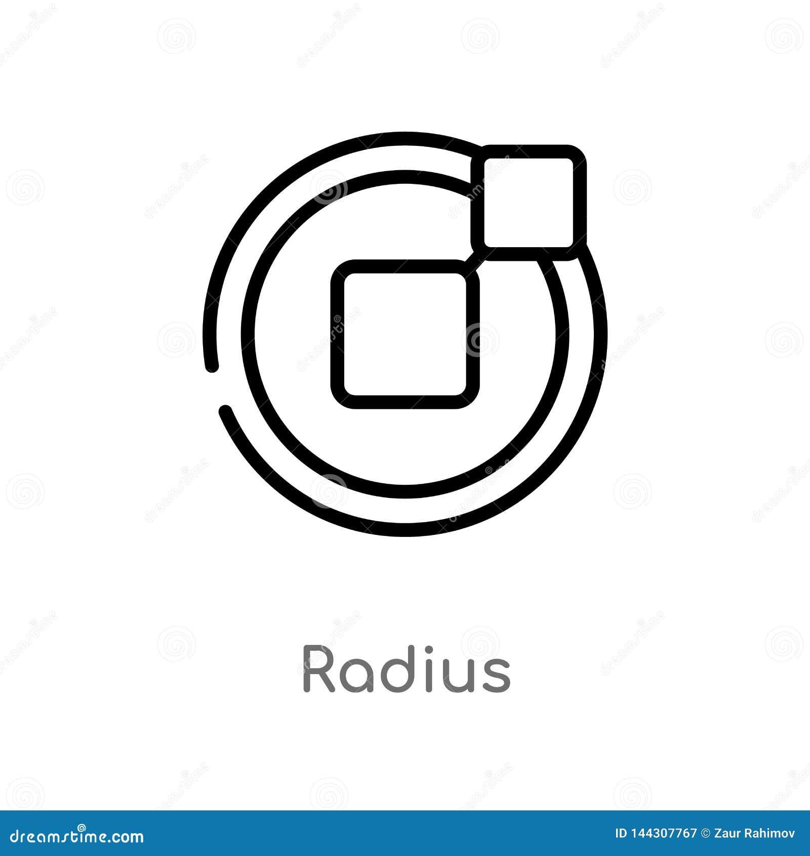 значок вектора радиуса плана изолированная черная простая линия иллюстрация элемента от концепции геометрии editable радиус хода