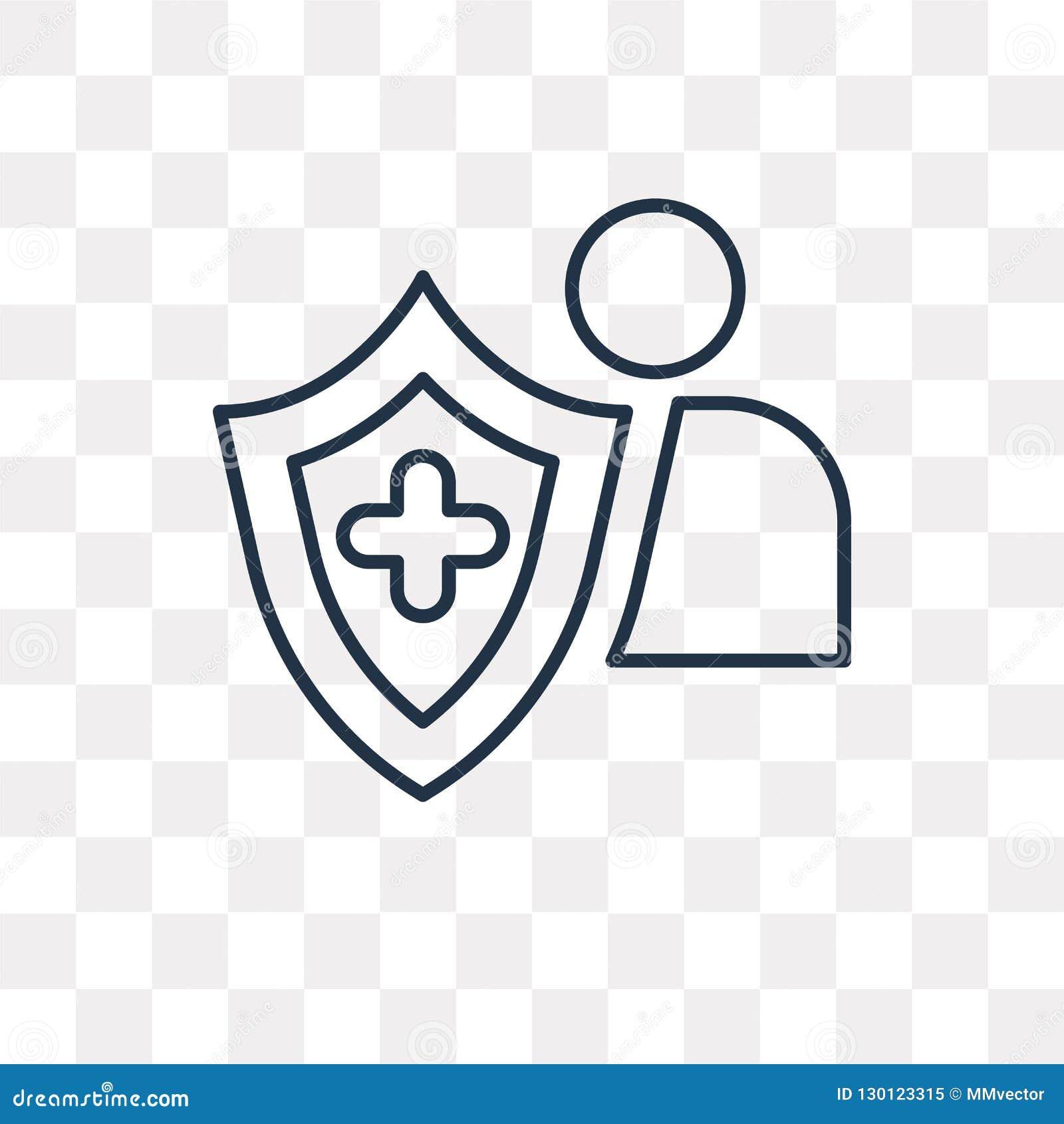 Значок вектора страхования изолированный на прозрачной предпосылке, линейной