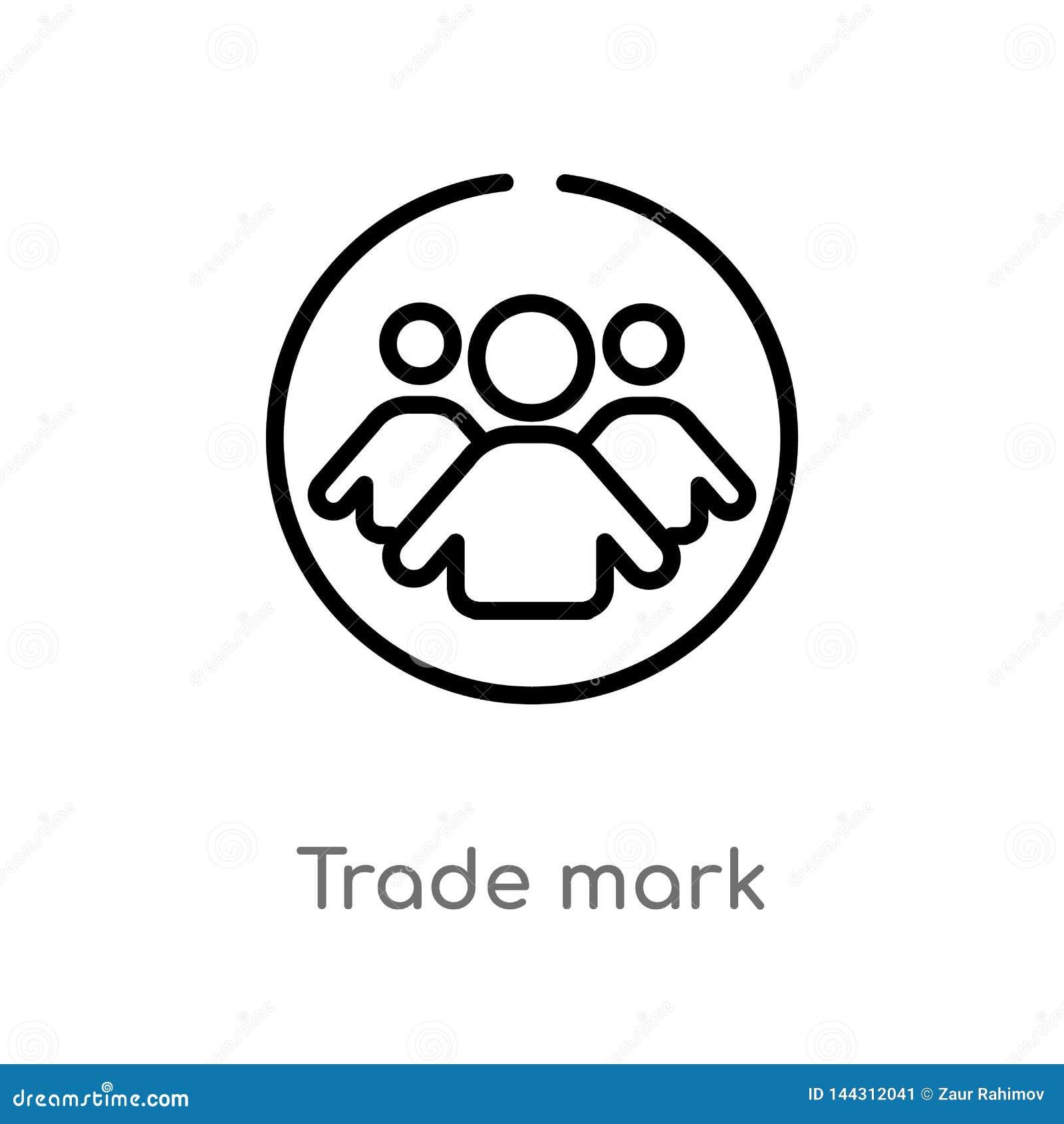 значок вектора торговой маркы плана изолированная черная простая линия иллюстрация элемента от концепции людей editable торговля