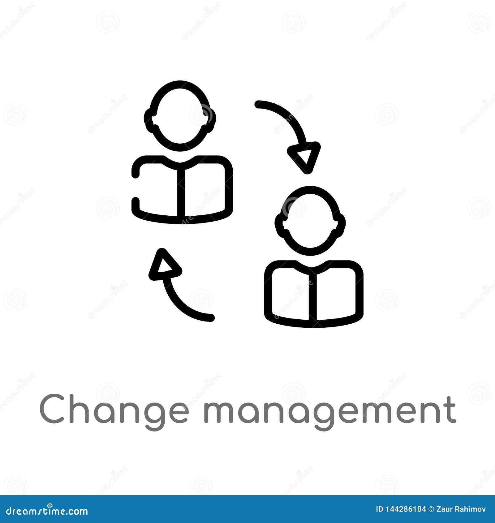 значок вектора управления изменения плана изолированная черная простая линия иллюстрация элемента от концепции человеческих ресур