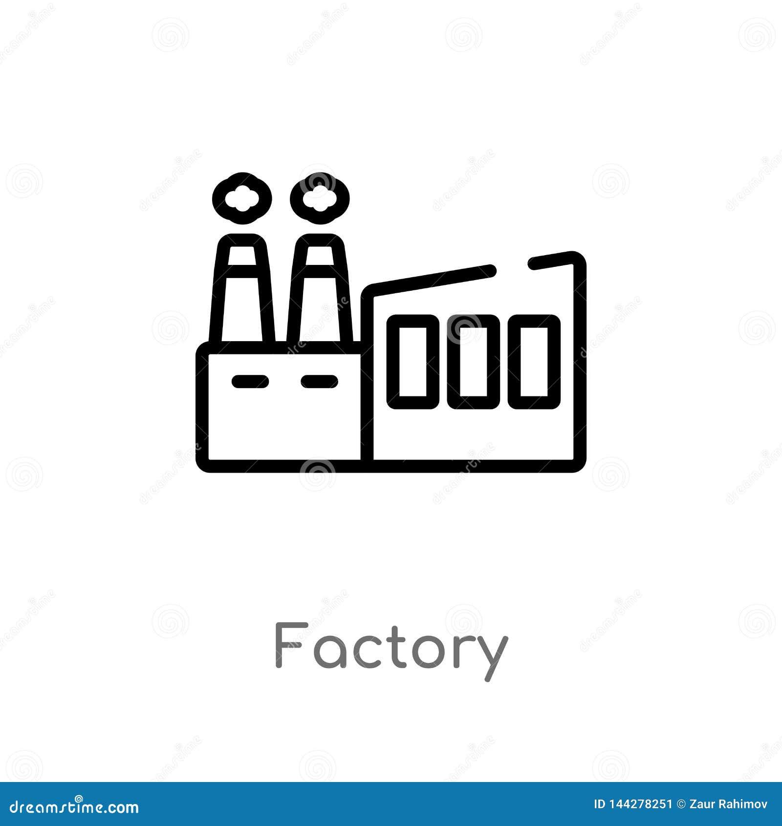 значок вектора фабрики плана изолированная черная простая линия иллюстрация элемента от доставки и логистической концепции r