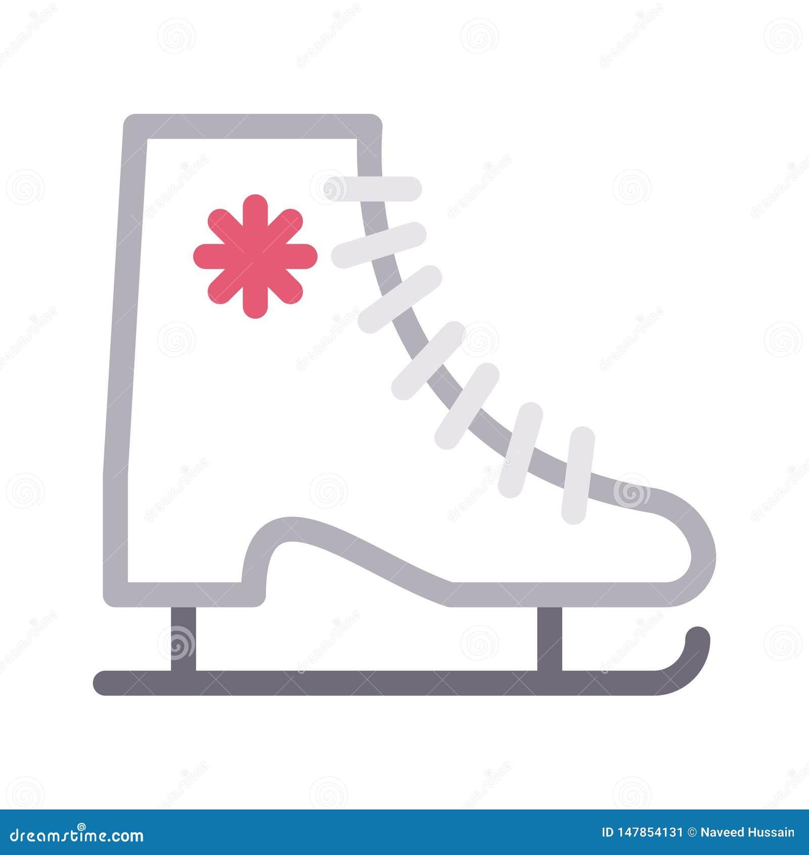 Значок вектора цветного барьера ботинка конька тонкий