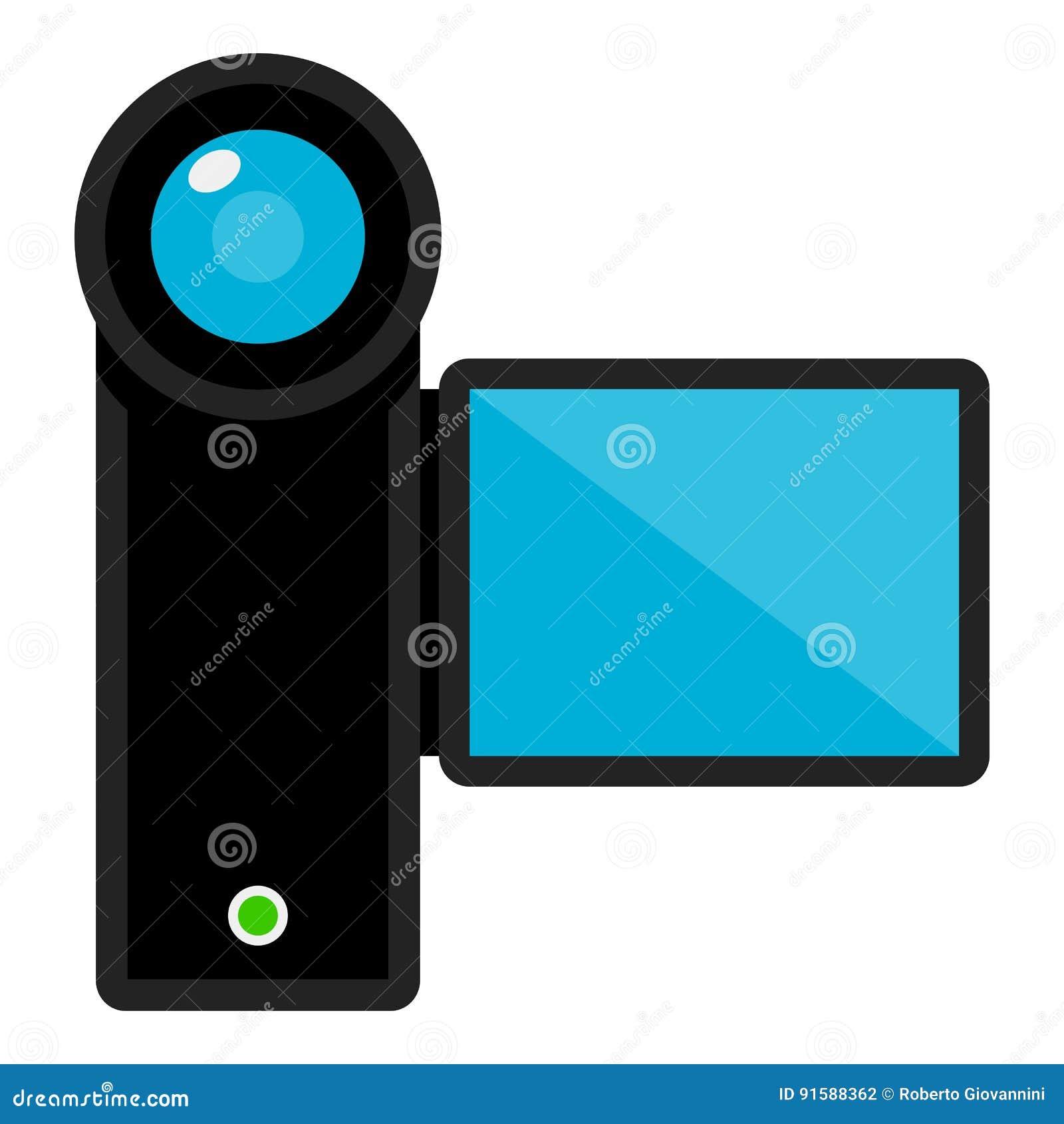 Значок видеокамеры плоский изолированный на белизне