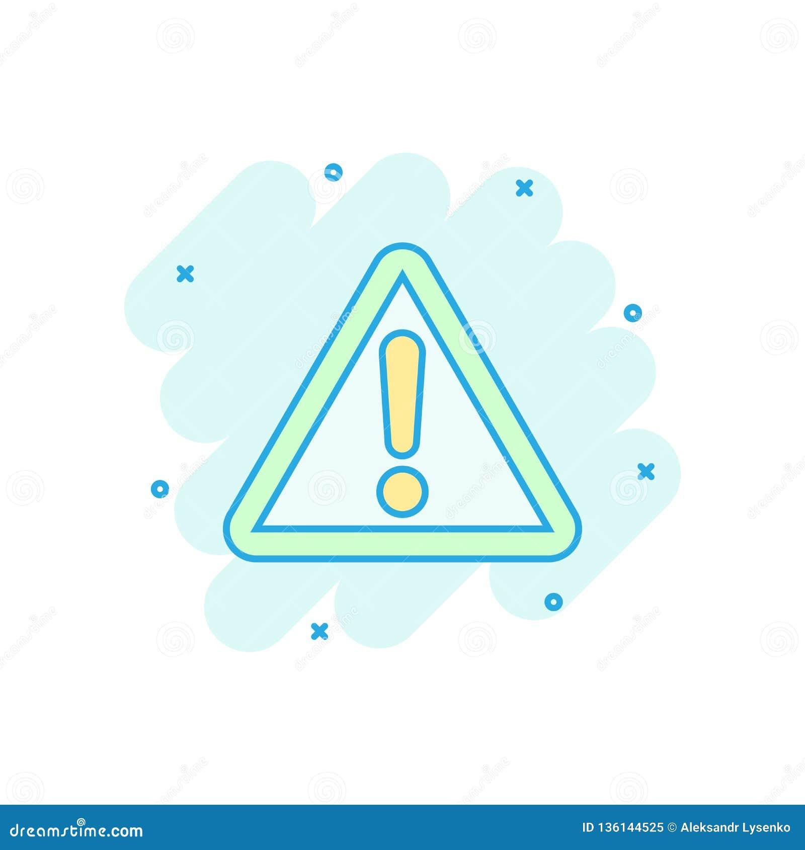 Значок восклицательного знака в шуточном стиле Пиктограмма иллюстрации мультфильма вектора сигнала тревоги опасности Выплеск конц