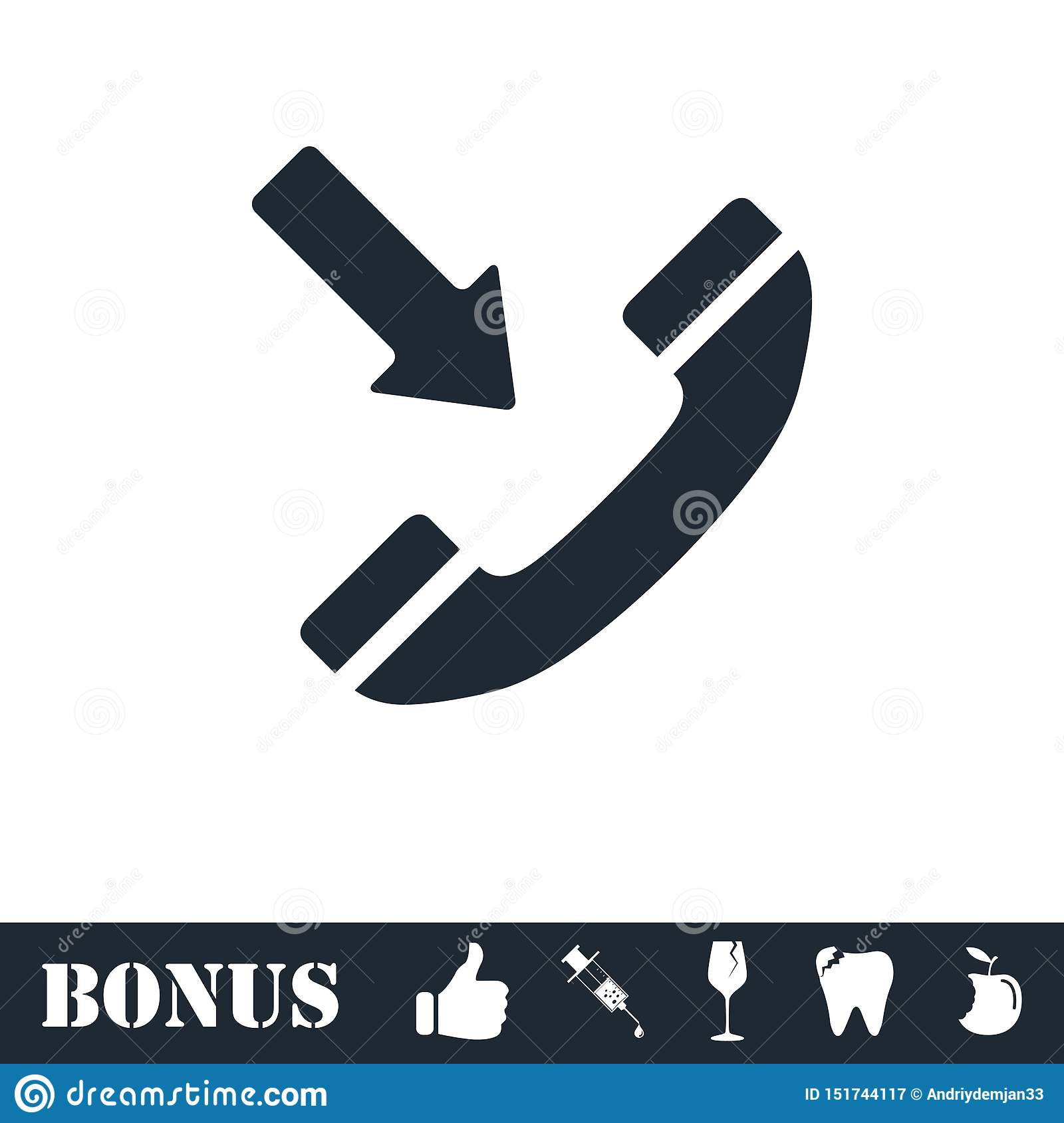 Значок входящего звонка плоско