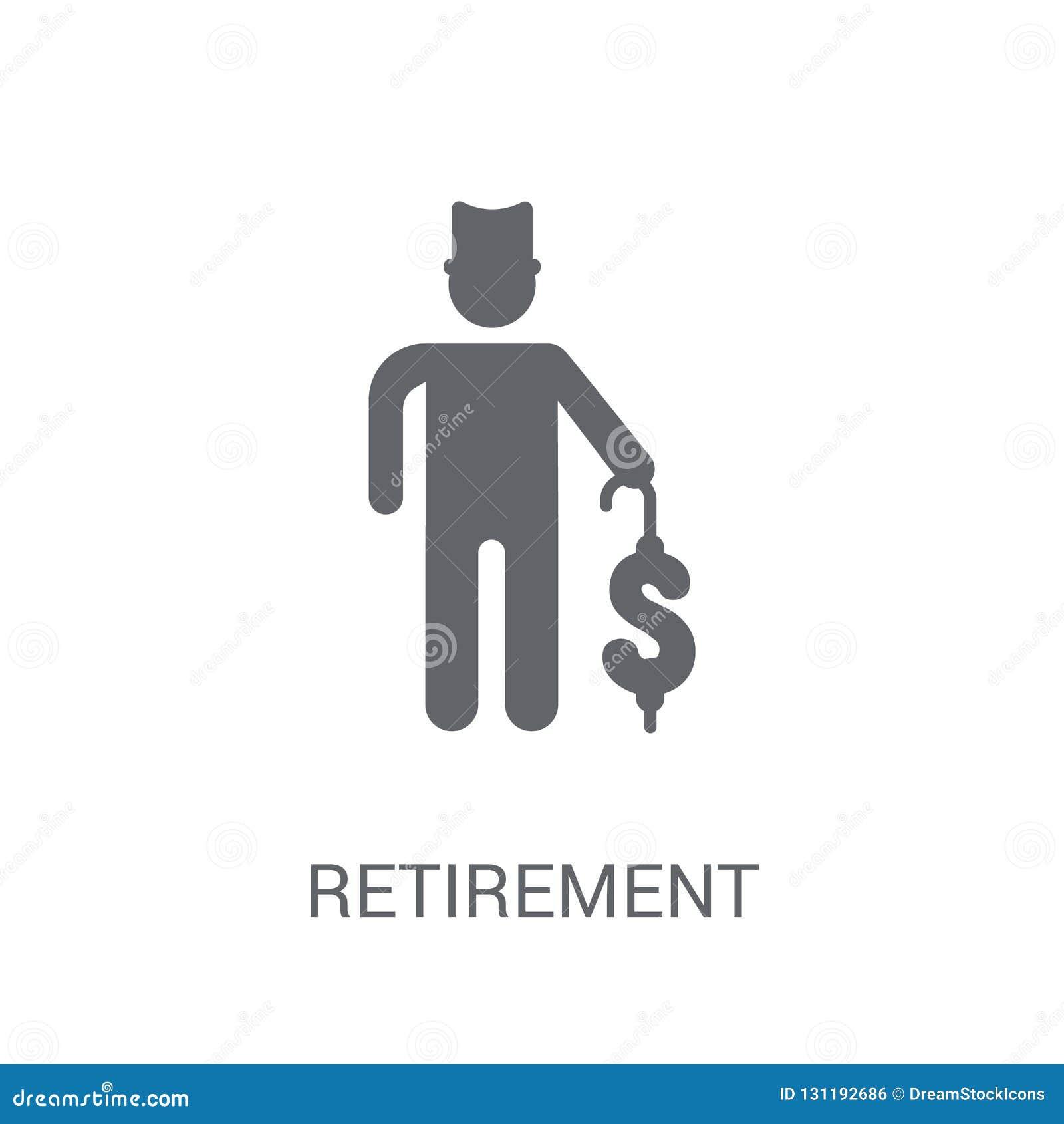 Значок выхода на пенсию Ультрамодная концепция логотипа выхода на пенсию на белом backgro