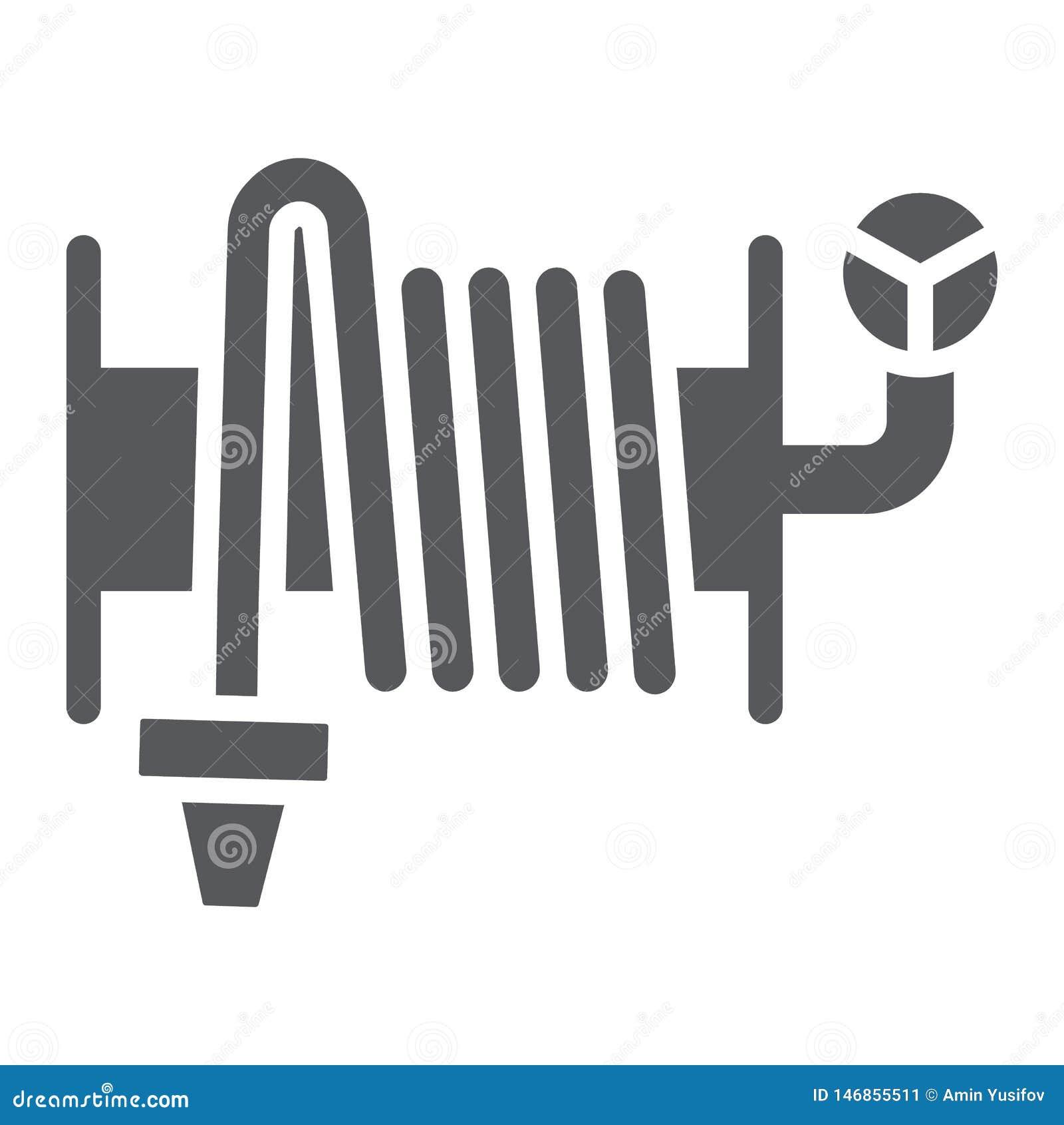 Значок глифа пожарного рукава, оборудование и вода, знак вьюрка шланга, векторные графики, твердая картина на белой предпосылке