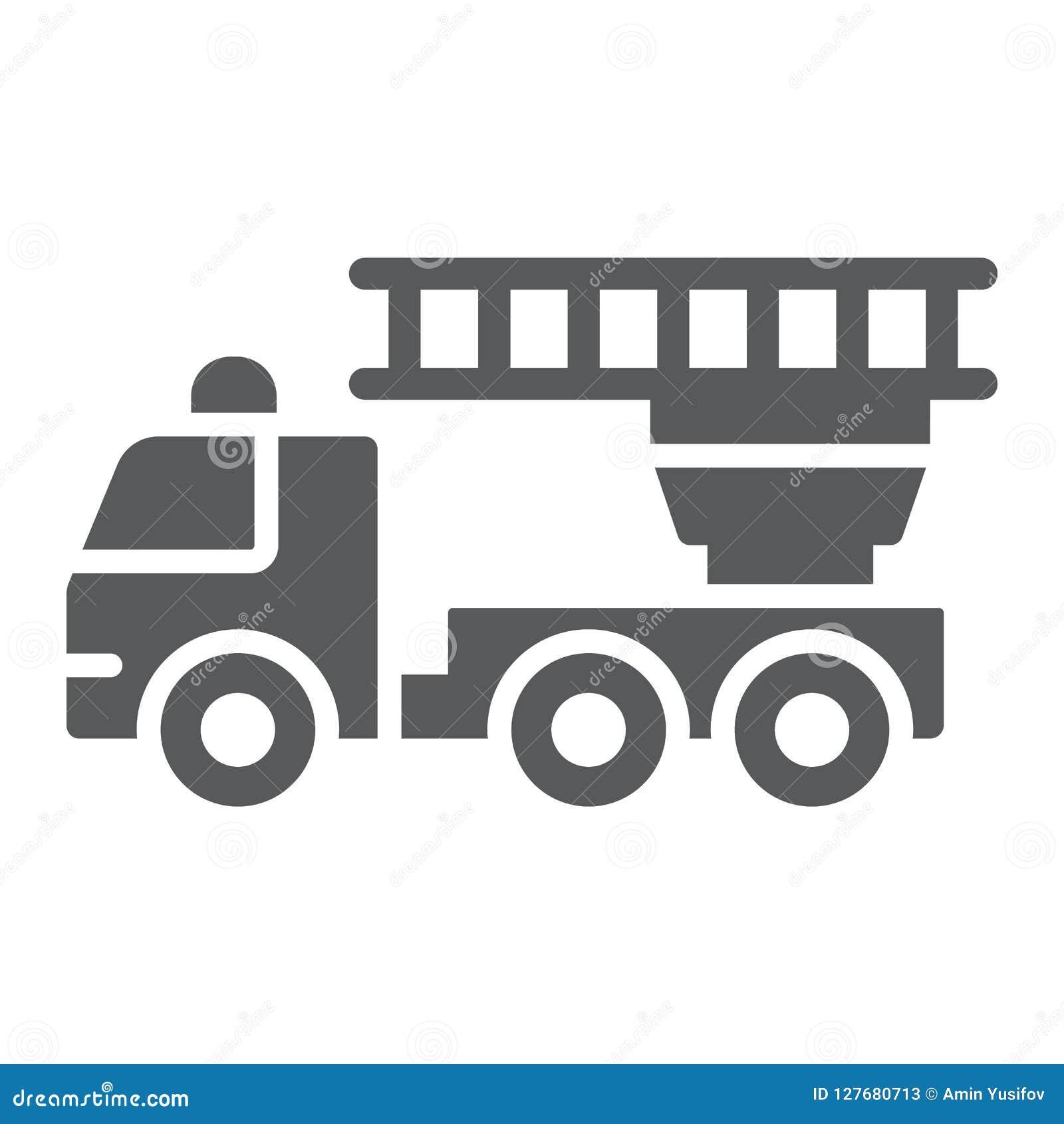 Значок глифа пожарной машины, аварийная ситуация и огонь, знак пожарной машины, векторные графики, твердая картина на белой предп