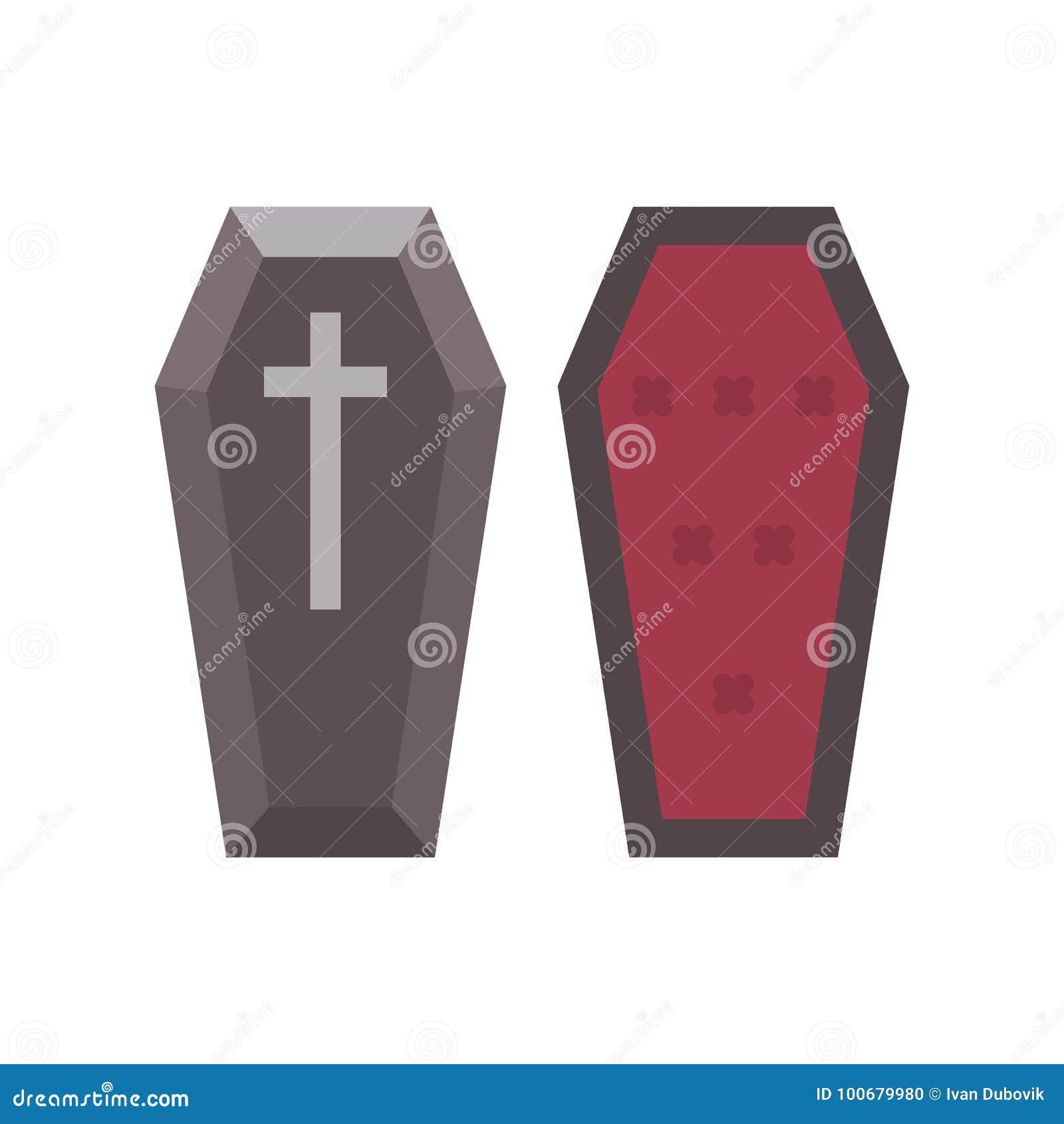 Значок гроба вампира плоский Иллюстрация хеллоуина гроба