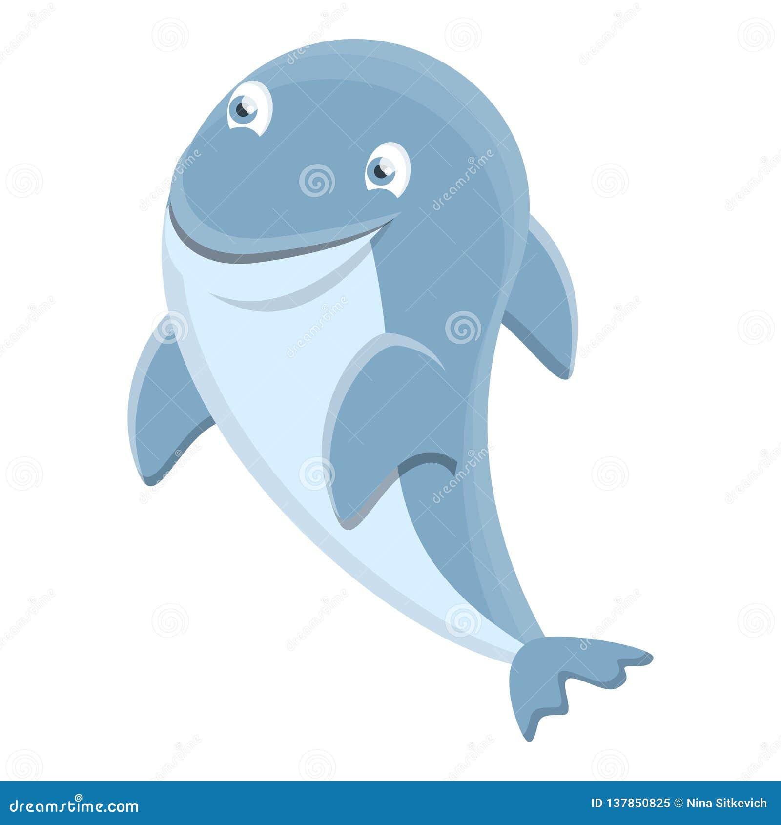 Значок дельфина моря, стиль мультфильма