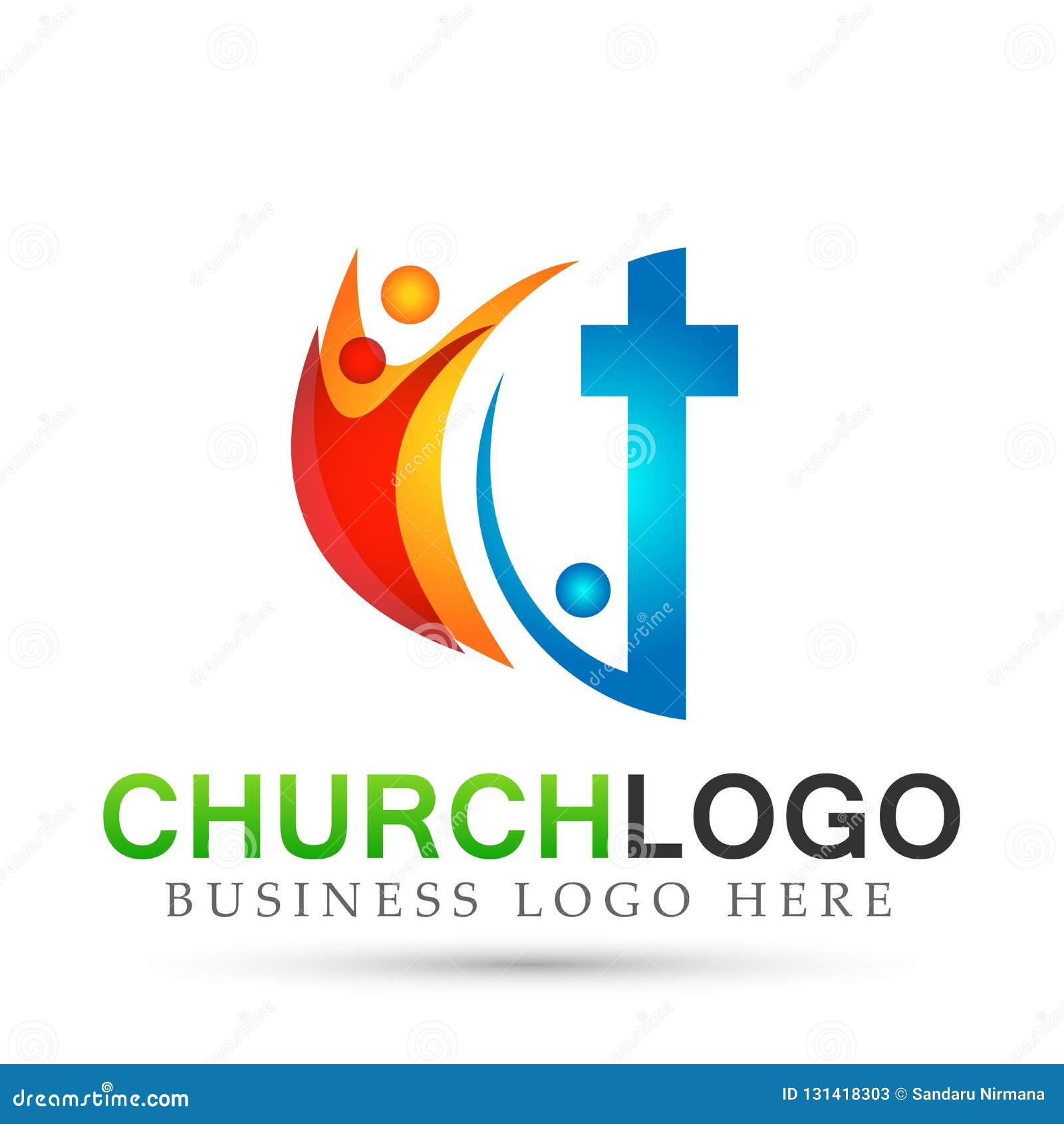 Значок дизайна логотипа любов заботы соединения людей церков города на белой предпосылке