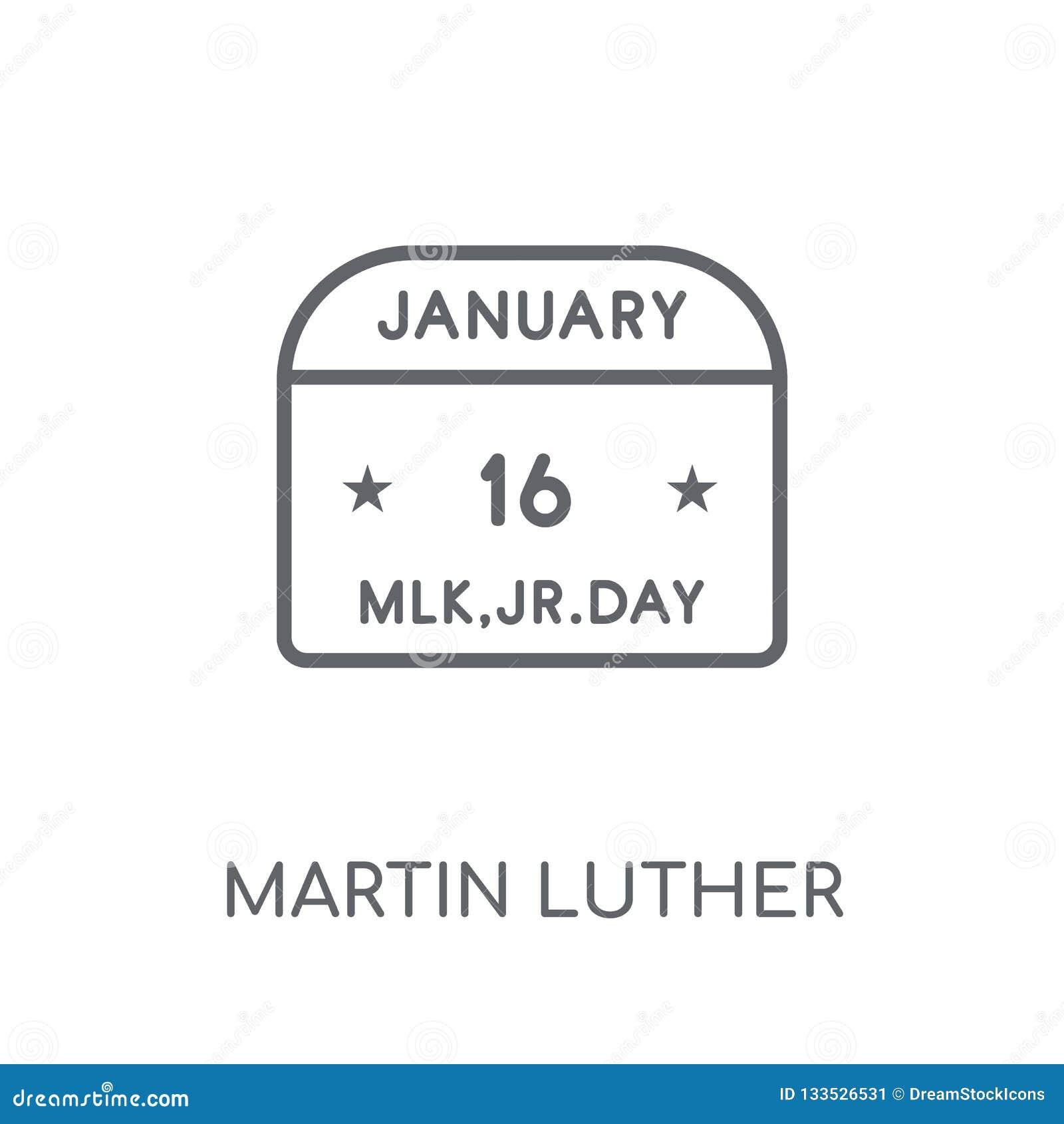 Значок дня Мартина Лютера Кинга линейный Современный план Мартин Luther