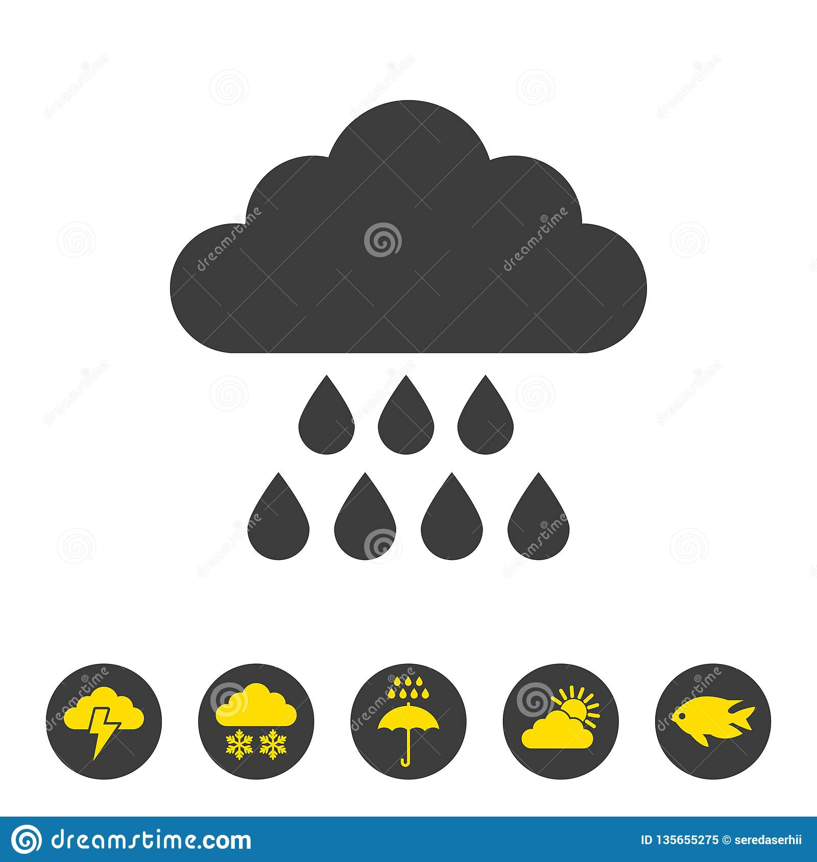 Значок дождя на белой предпосылке