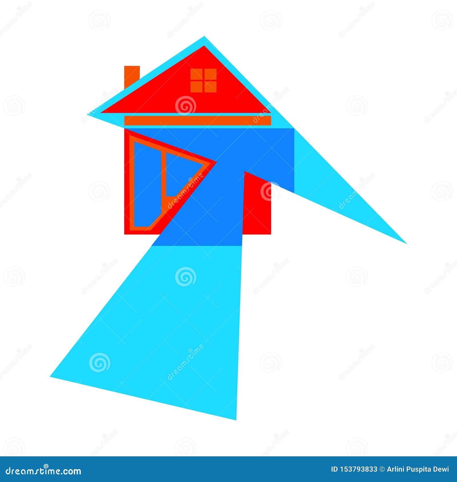 значок дома со стрелками как символы на пути к успеху с белой предпосылкой