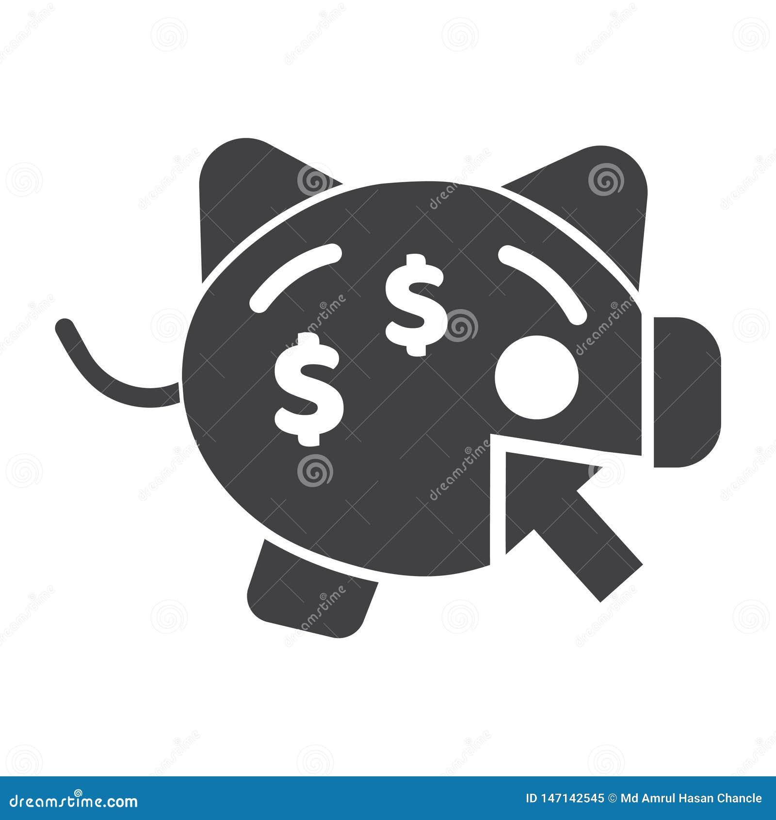 Значок дохода или вектора копилки кренить вебсайт копилки идеальный или мобильный вектор иконы приложений
