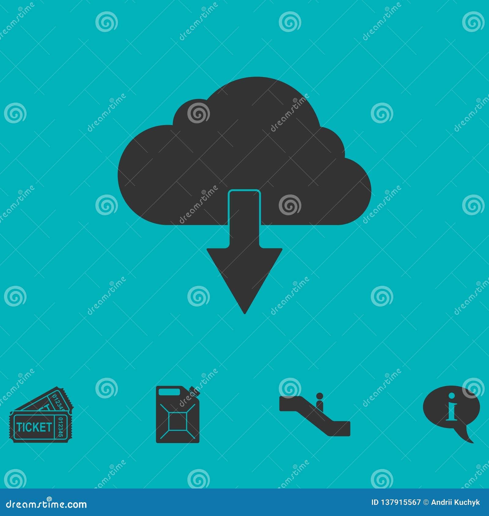 Значок загрузки облака плоско