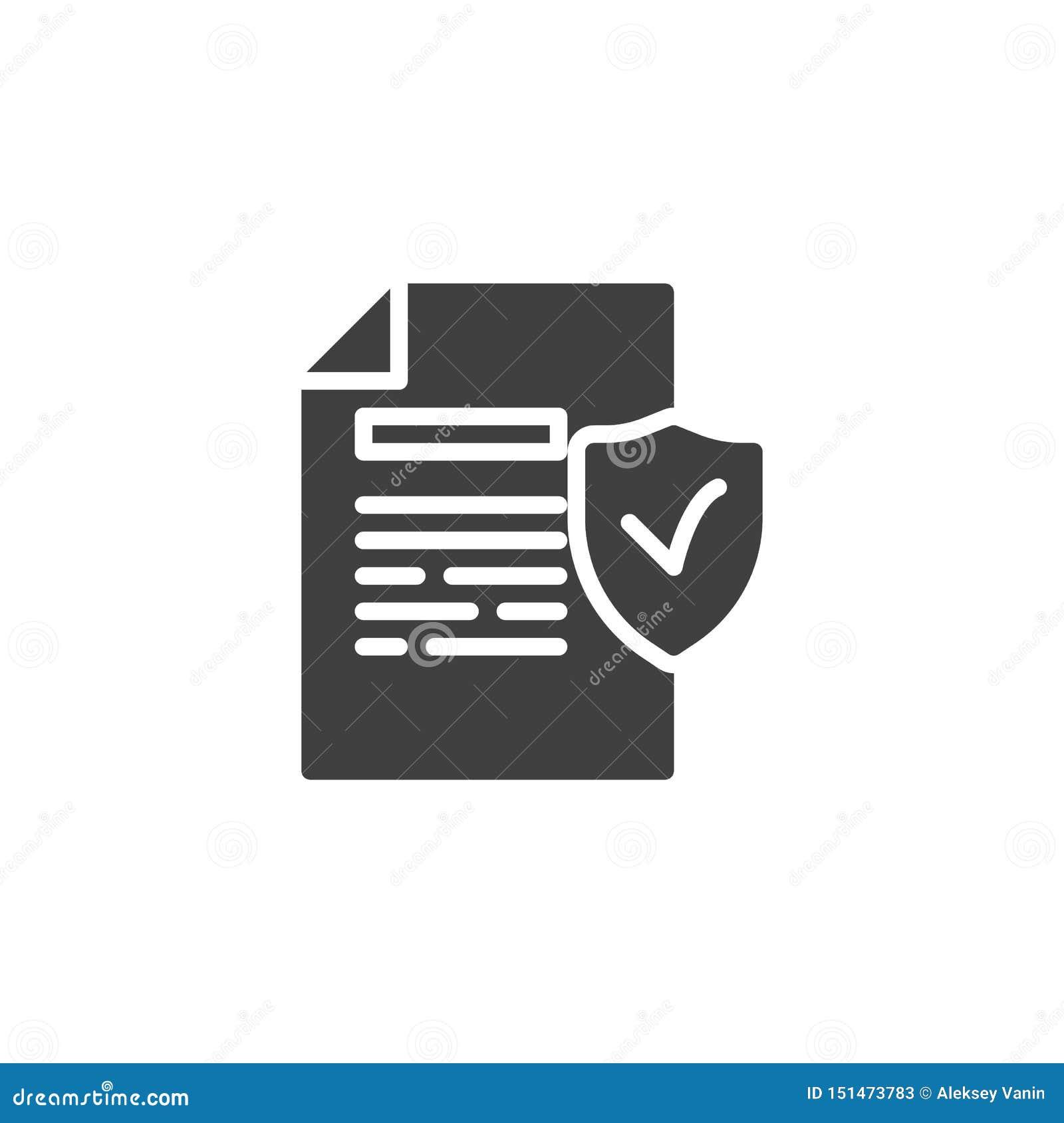 Значок защищенного вектора файла документа