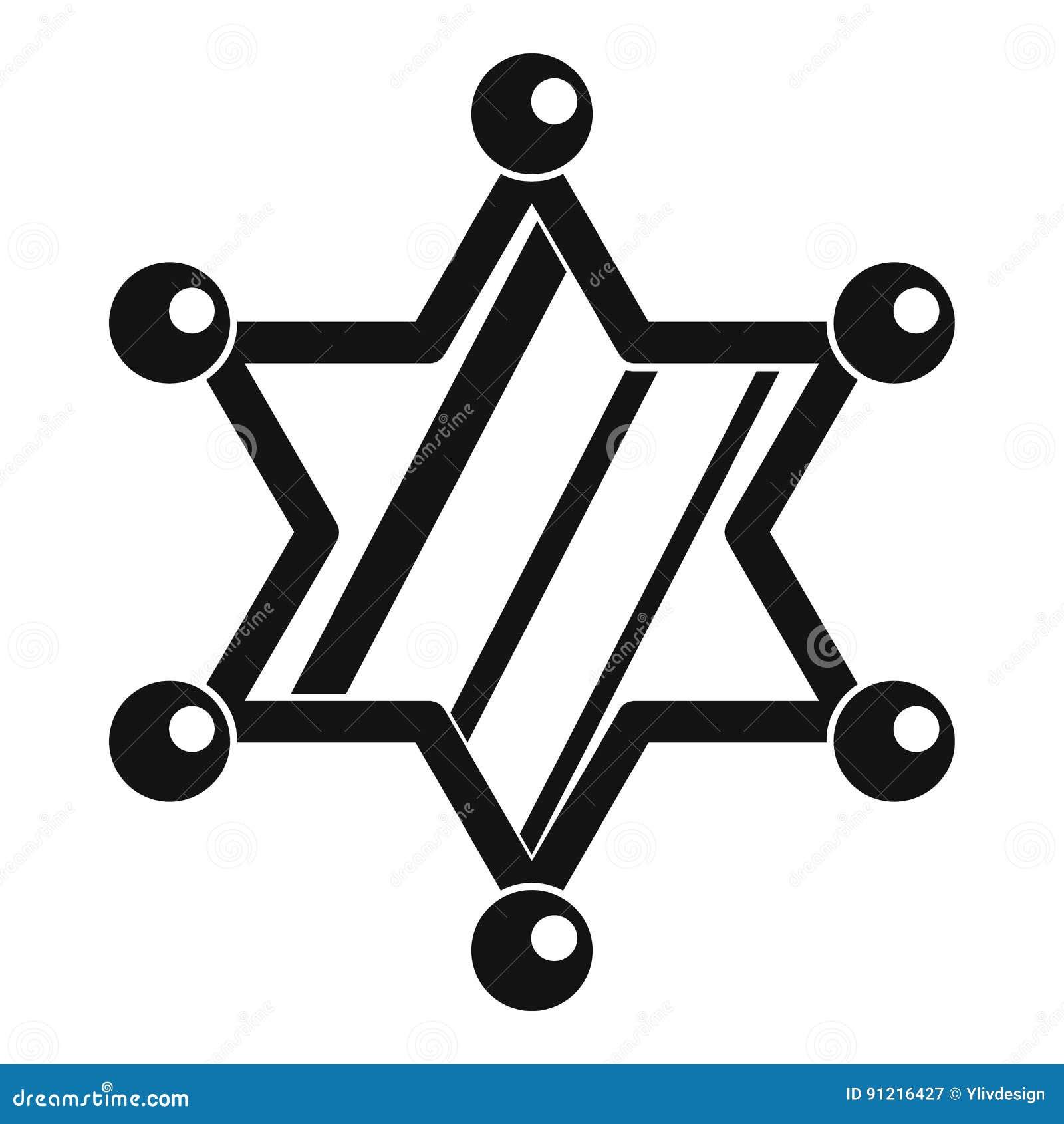 Значок звезды шерифа, простой стиль