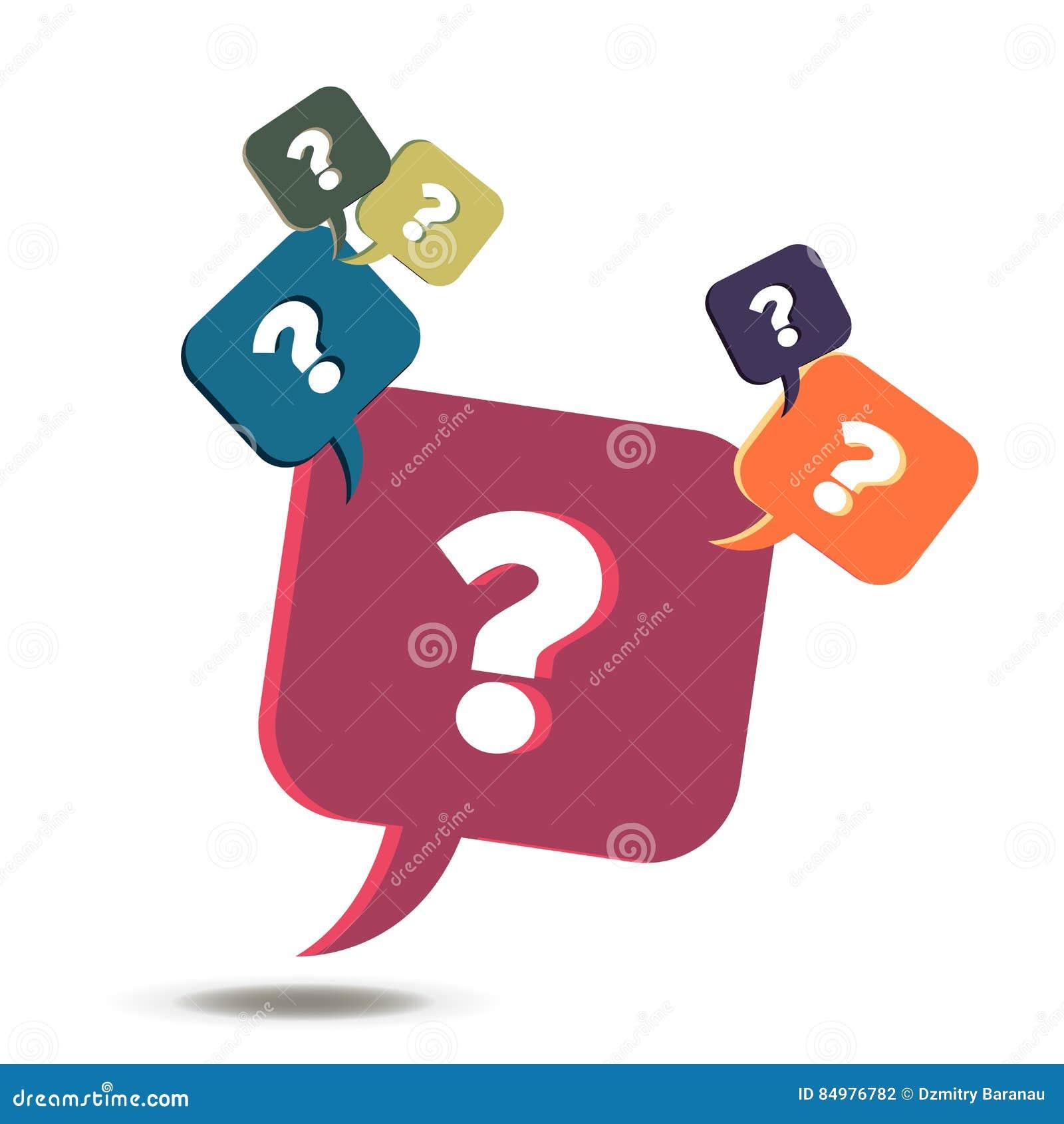 Значок знака вопросительного знака вектора Символ помощи Пузырь вопросы и ответы Круглые красочные кнопки изолированные на белой