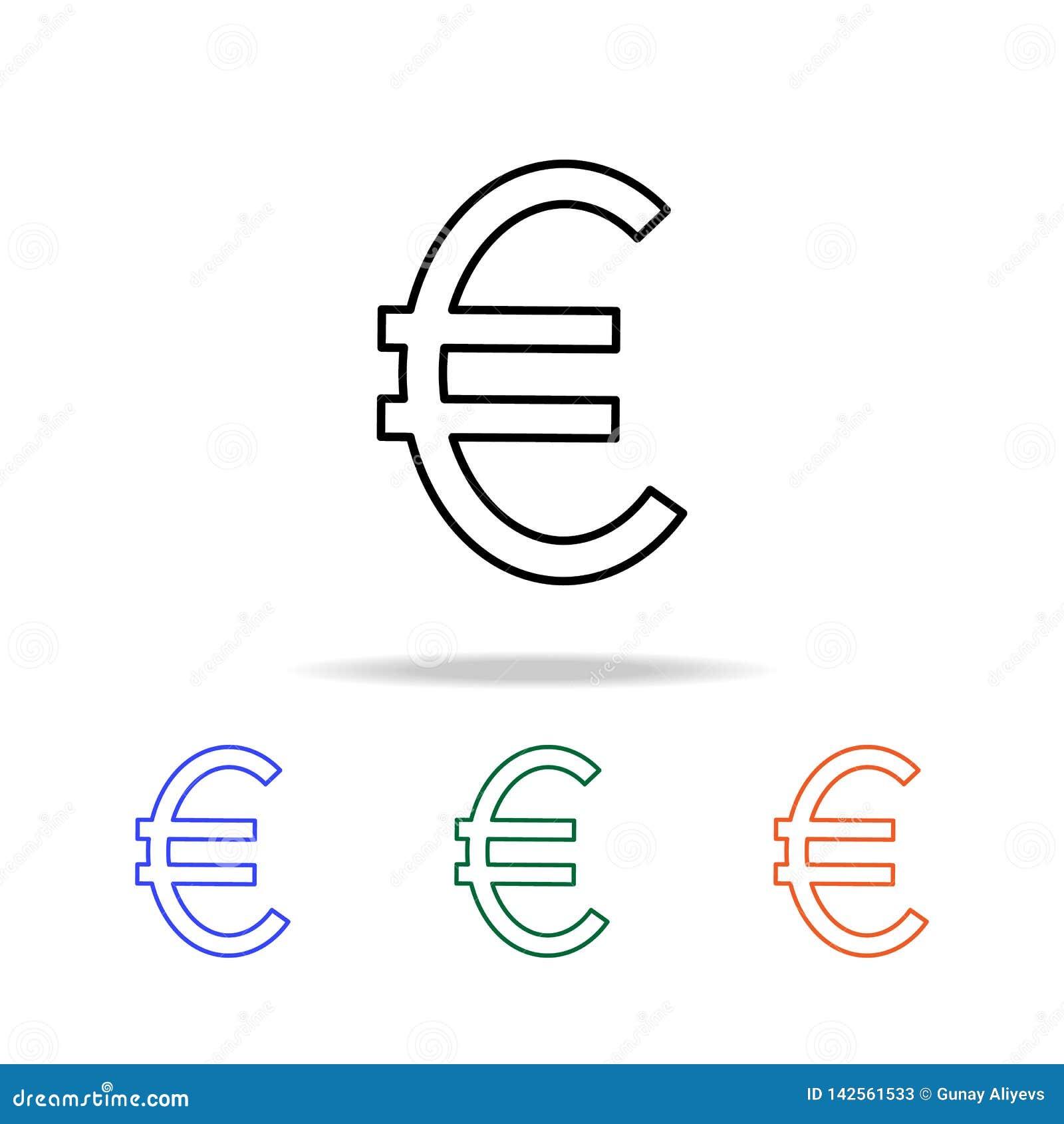 Значок знака евро Элементы простого значка сети в multi цвете Наградной качественный значок графического дизайна Простой значок д