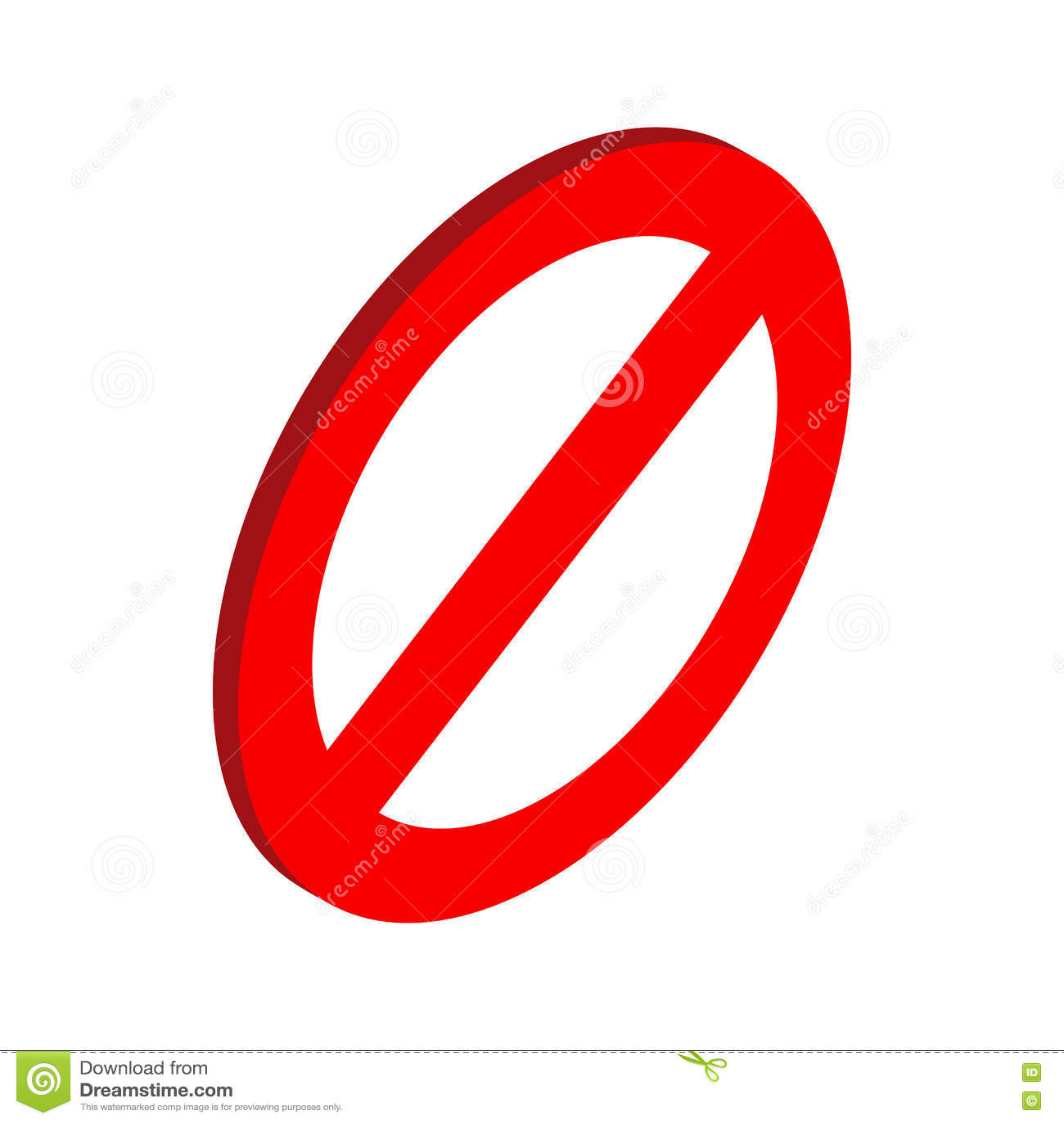 Значок знака запрета, равновеликий стиль 3d
