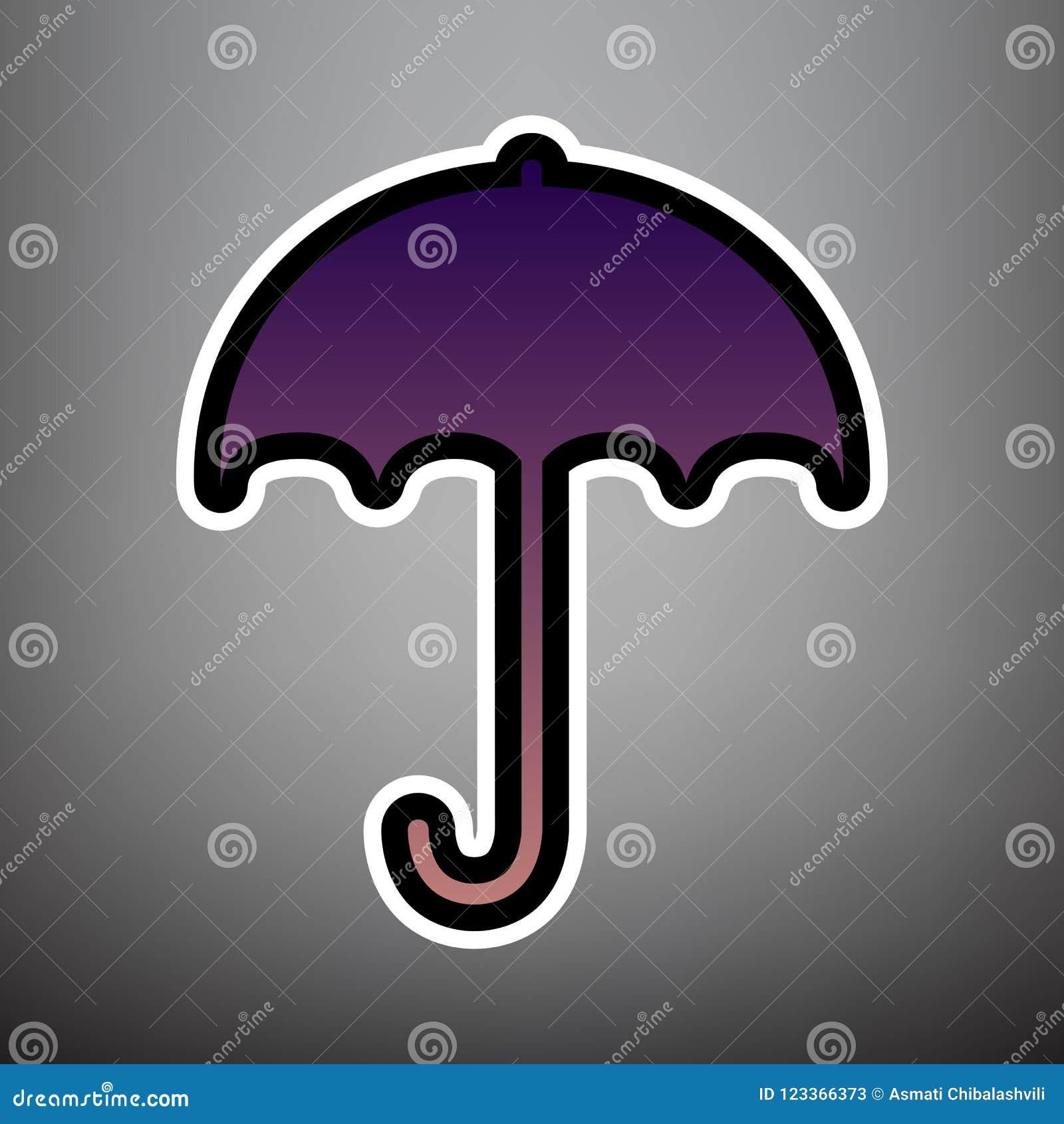 Значок знака зонтика Символ предохранения от дождя Плоский стиль дизайна V