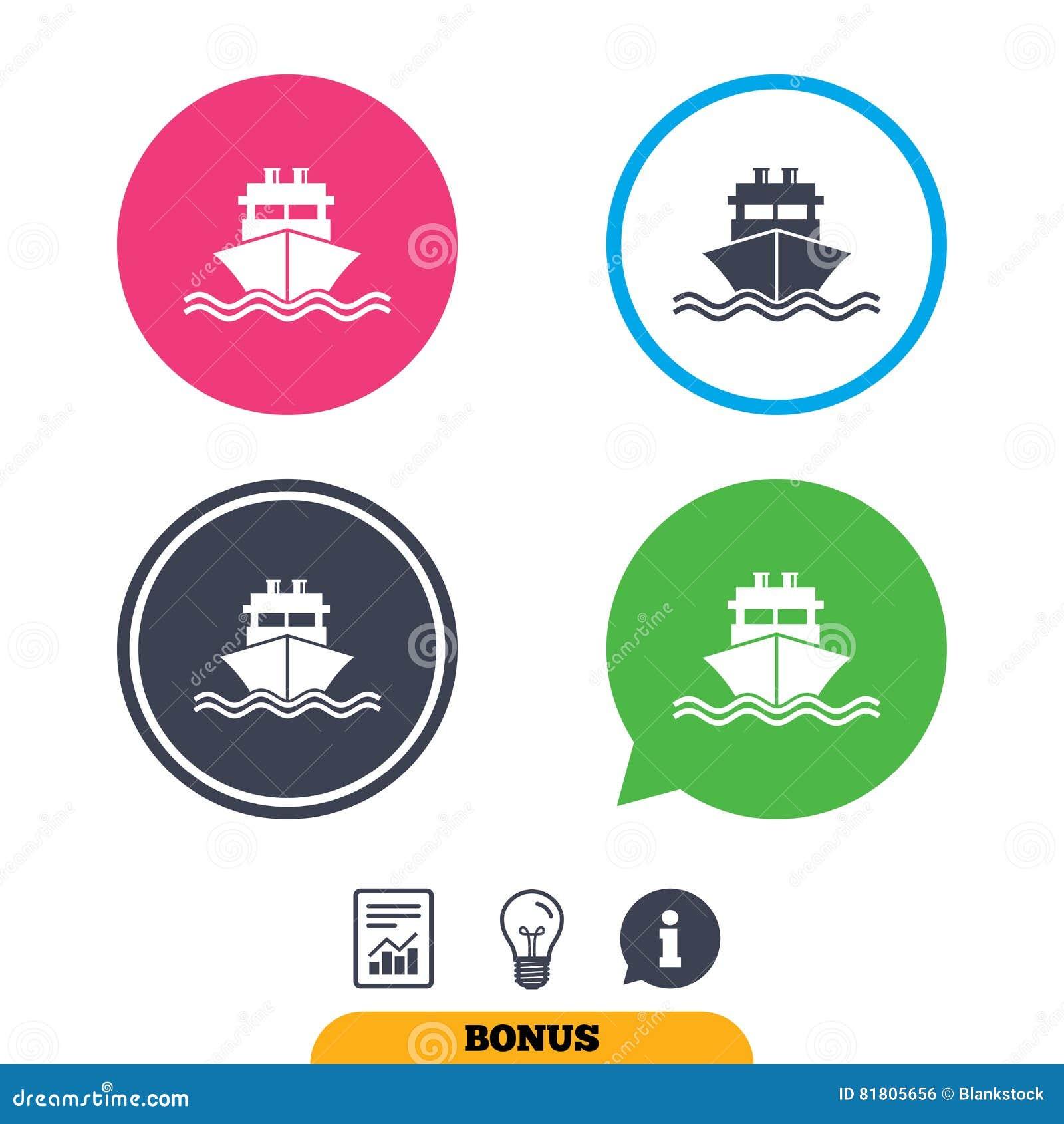 Значок знака корабля или шлюпки Символ поставки доставки