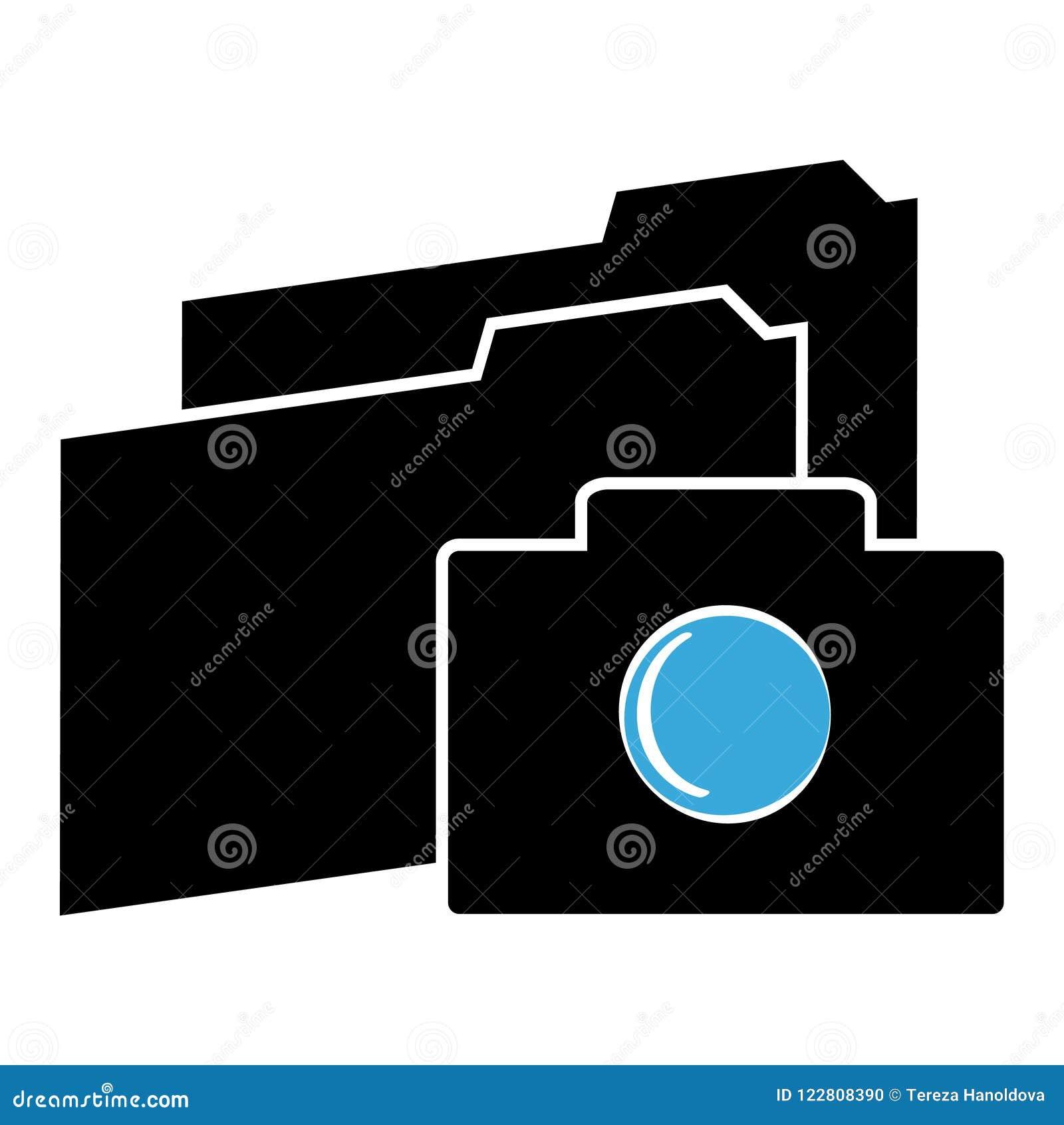 Значок камеры с папками на белой предпосылке также вектор иллюстрации притяжки corel