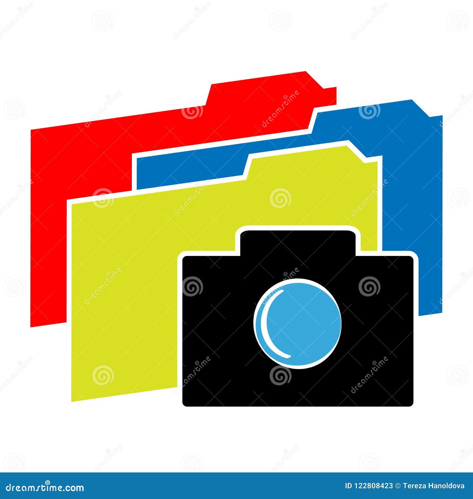 Значок камеры с папками цвета на белой предпосылке также вектор иллюстрации притяжки corel