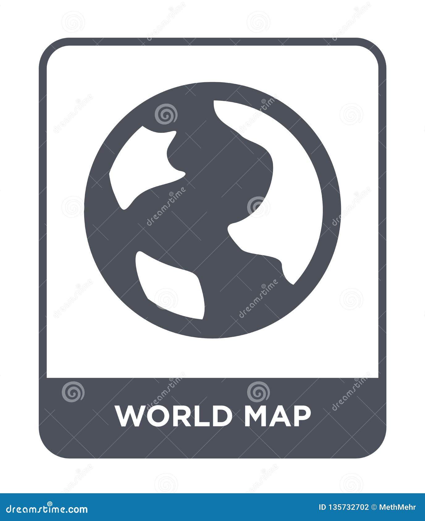 значок карты мира в ультрамодном стиле дизайна Значок карты мира изолированный на белой предпосылке квартира значка вектора карты