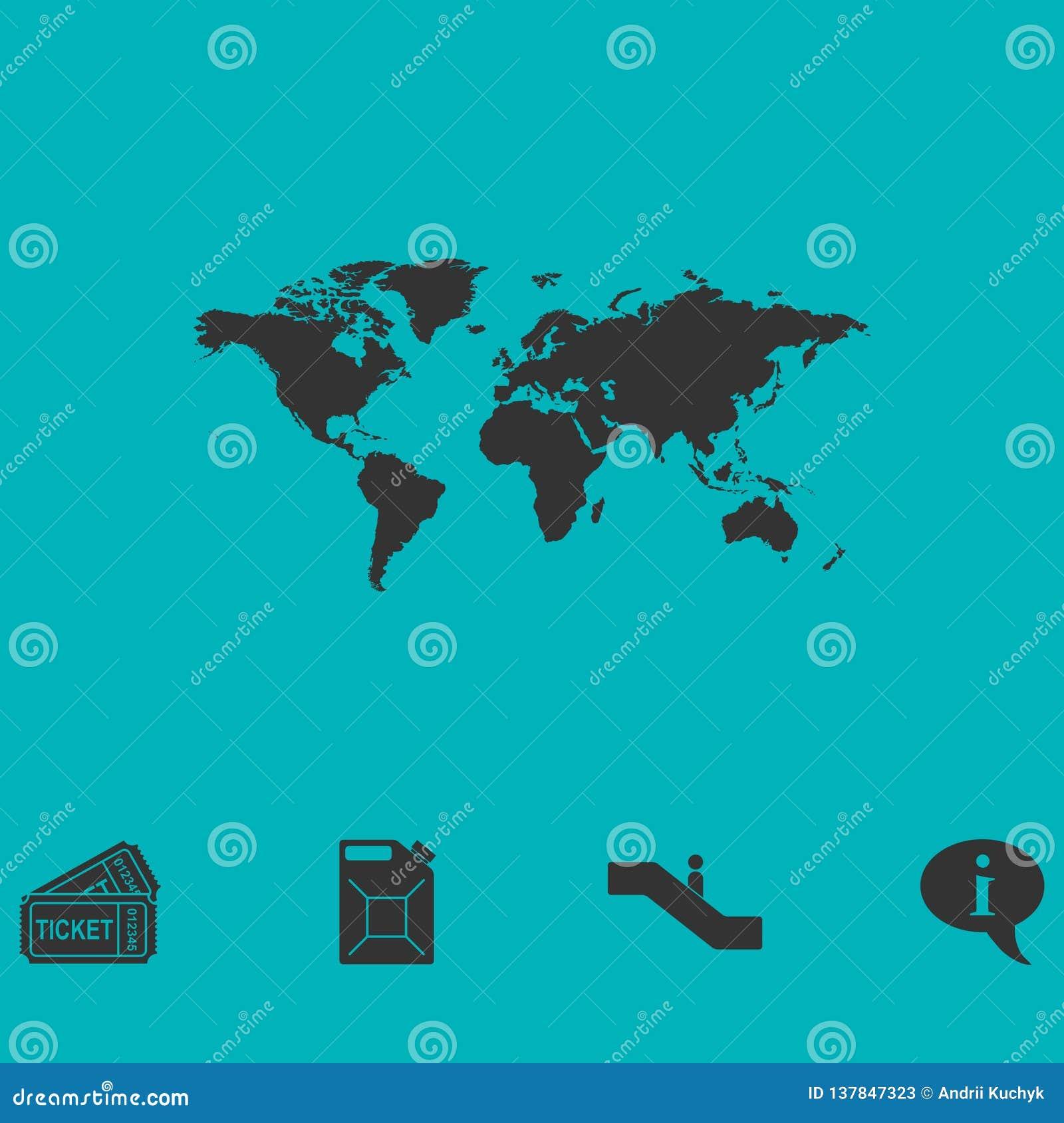 Значок карты мира плоско