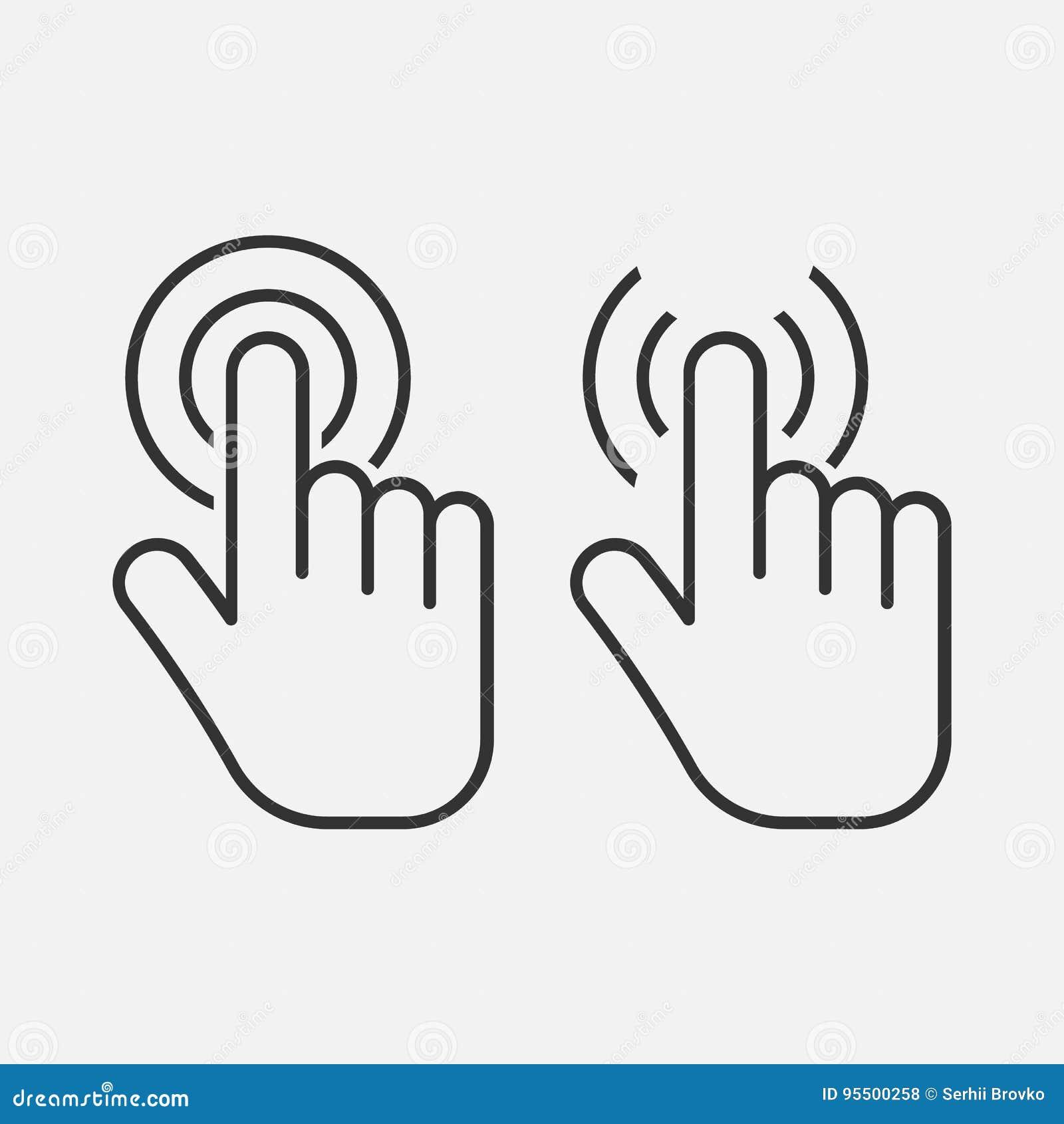 Значок касания руки Значок щелчка Изолировано на предпосылке