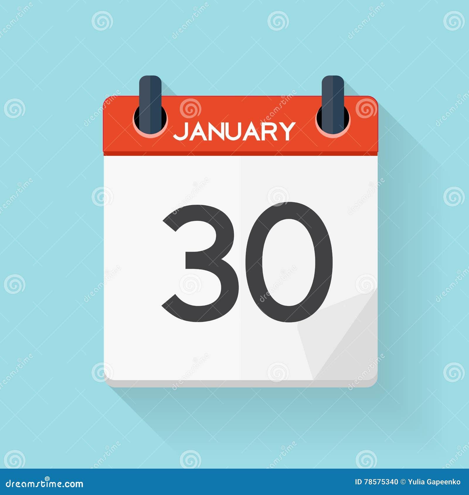 Значок календаря 30-ое января плоско ежедневный Эмблема иллюстрации вектора
