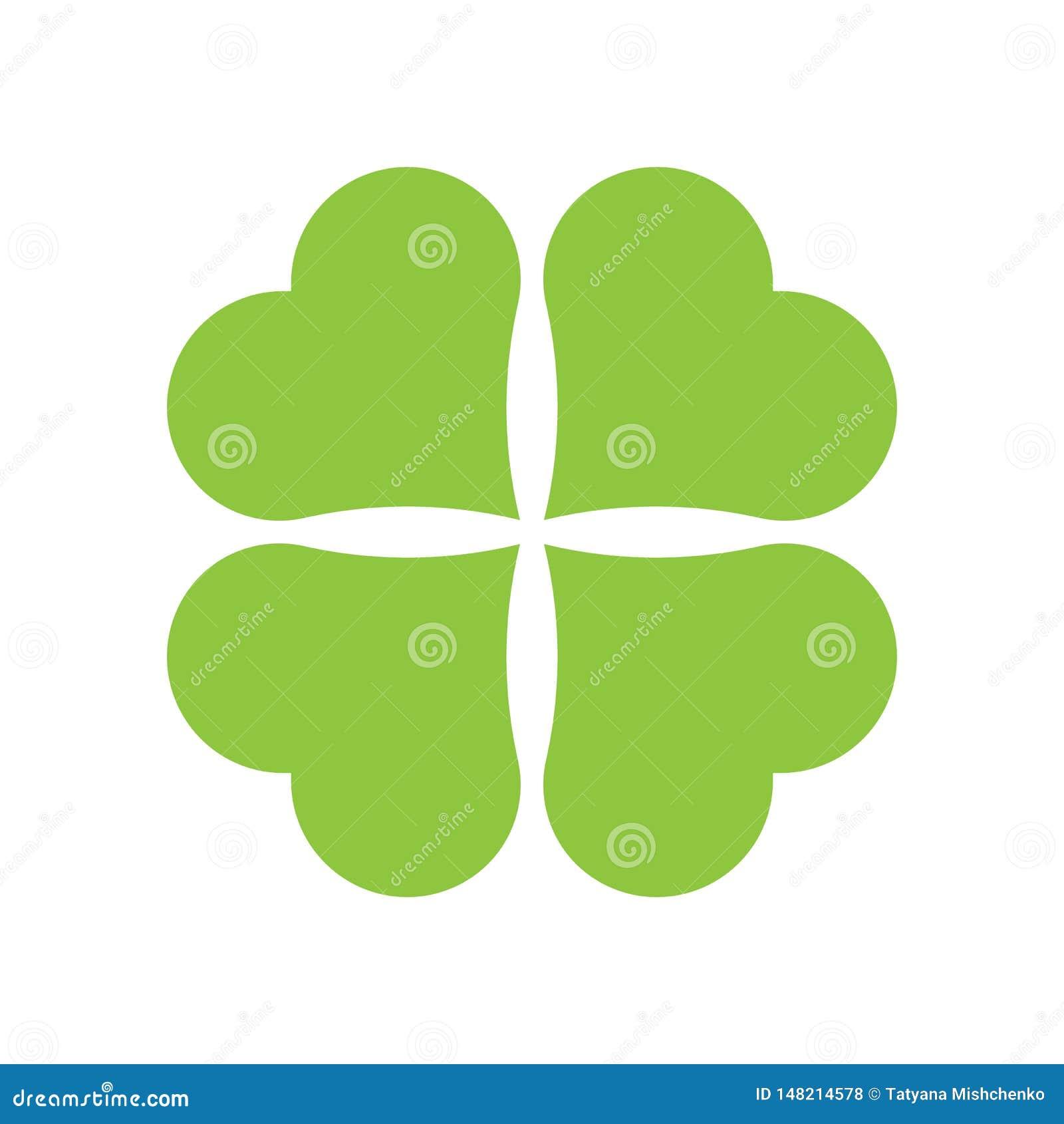 Значок клевера 4 лист Зеленый значок изолированный на белой предпосылке Простой значок Страница вебсайта и мобильный дизайн прило