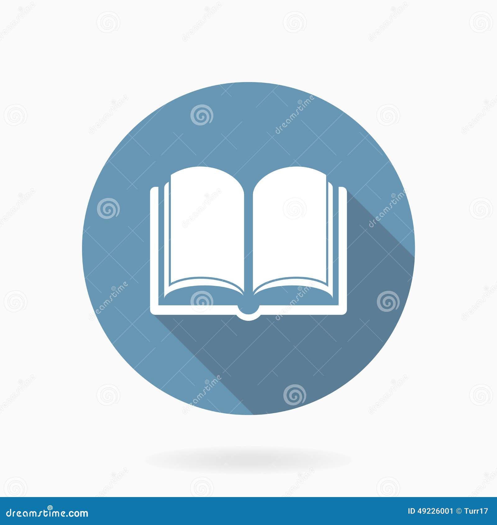 Значок книги вектора с плоским дизайном голубая белизна