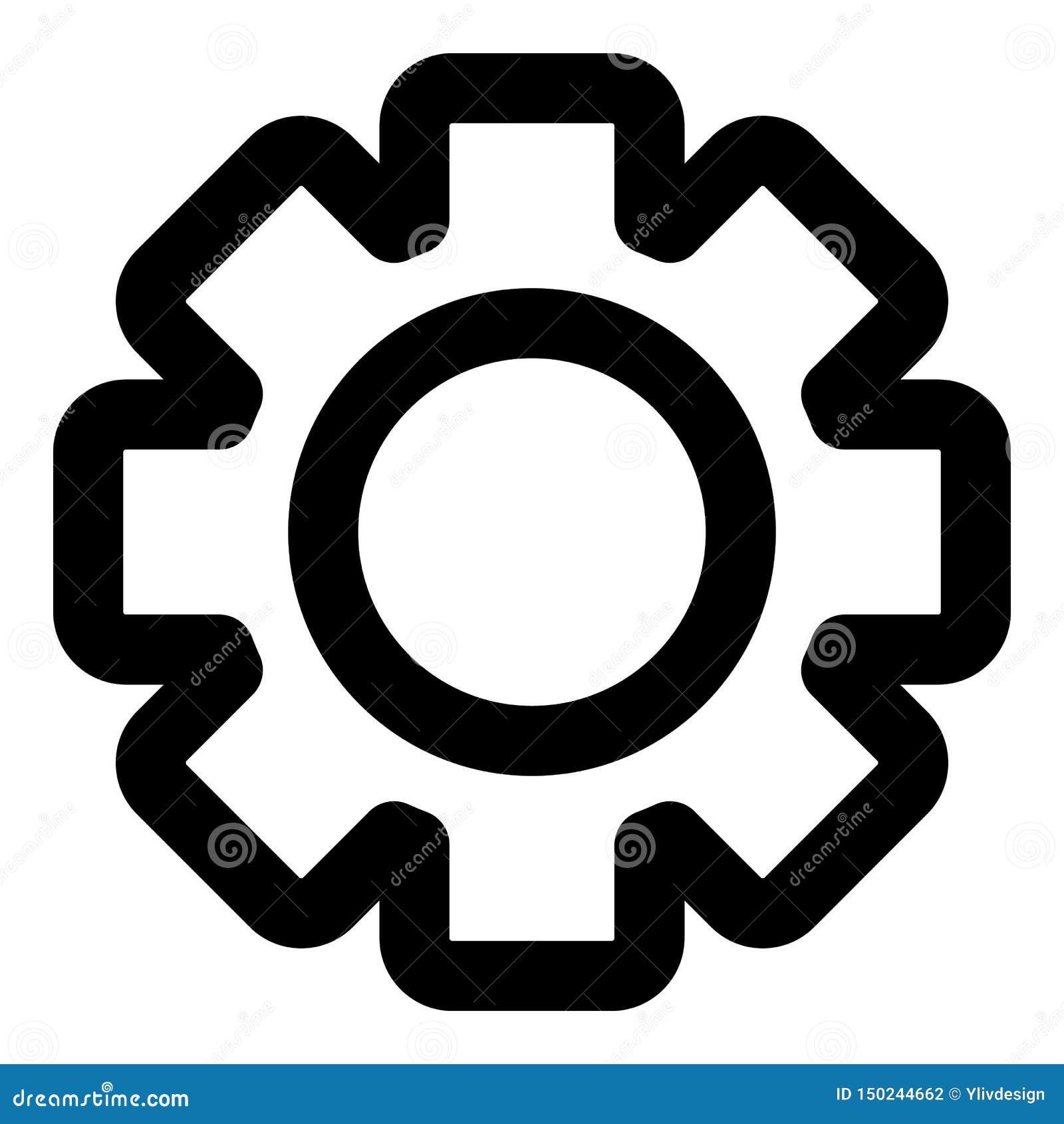 Значок колеса шестерни, стиль плана