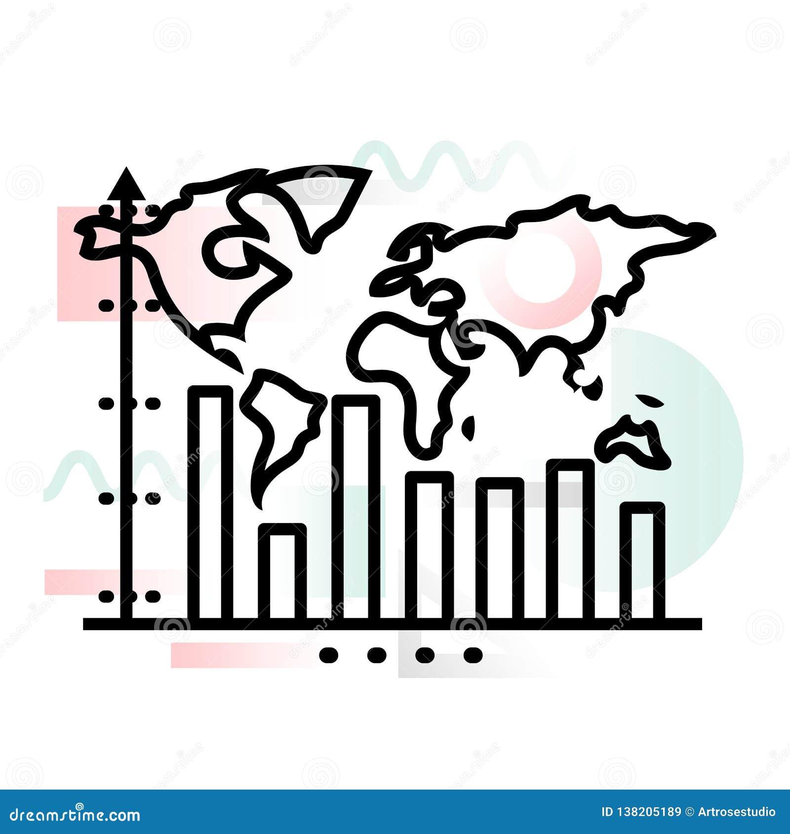 Значок концепции динамики роста глобального бизнеса с абстрактной предпосылкой