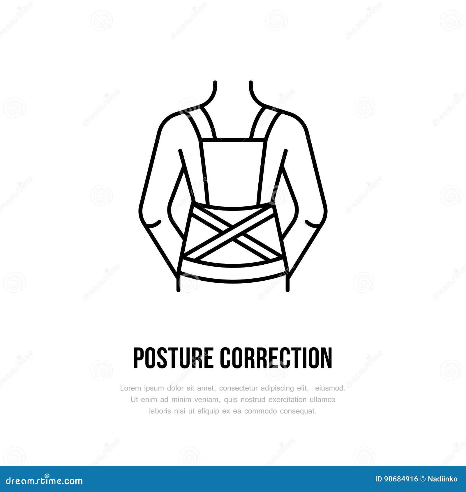 Значок коррекции позиции, линия логотип Плоский знак для магазина оборудования реабилитации травмы