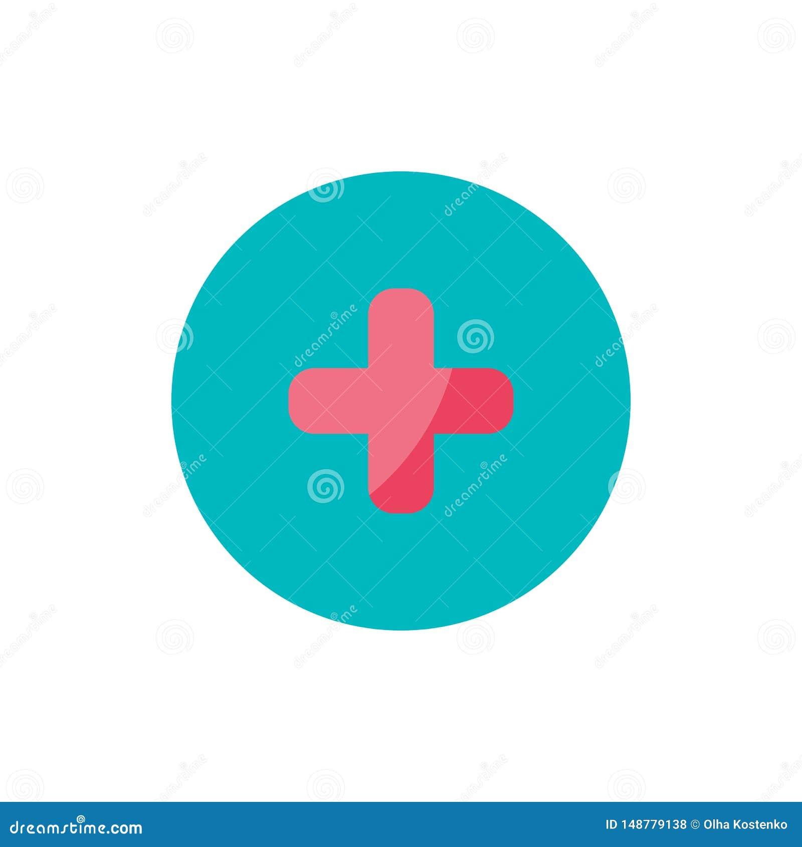 Значок креста медицины плоский на зеленом круге