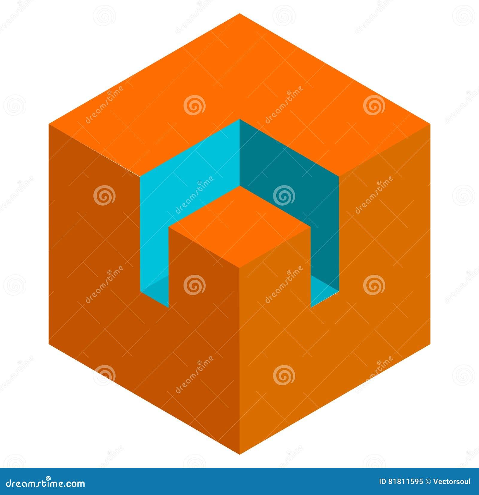 Значок куба равновеликого duotone 3d схематический Геометрический куб для st