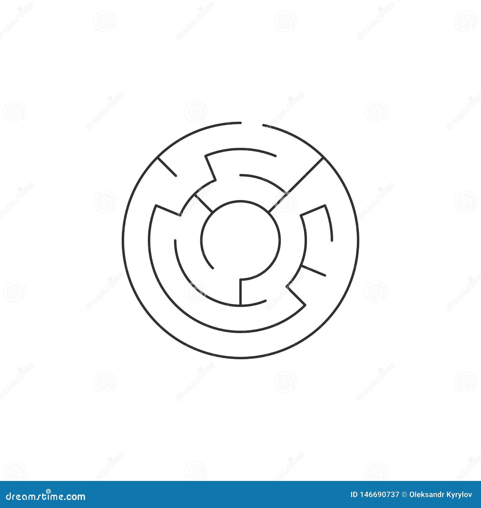 значок лабиринта круга, иллюстрация вектора изолированная на белой предпосылке