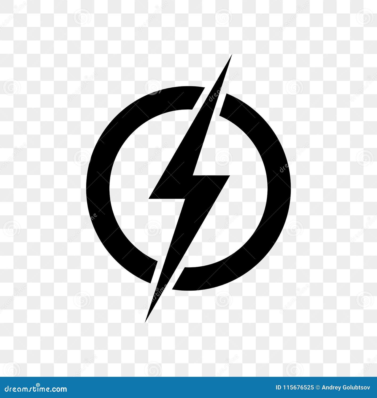 Значок логотипа молнии силы Символ болта грома вектора черный