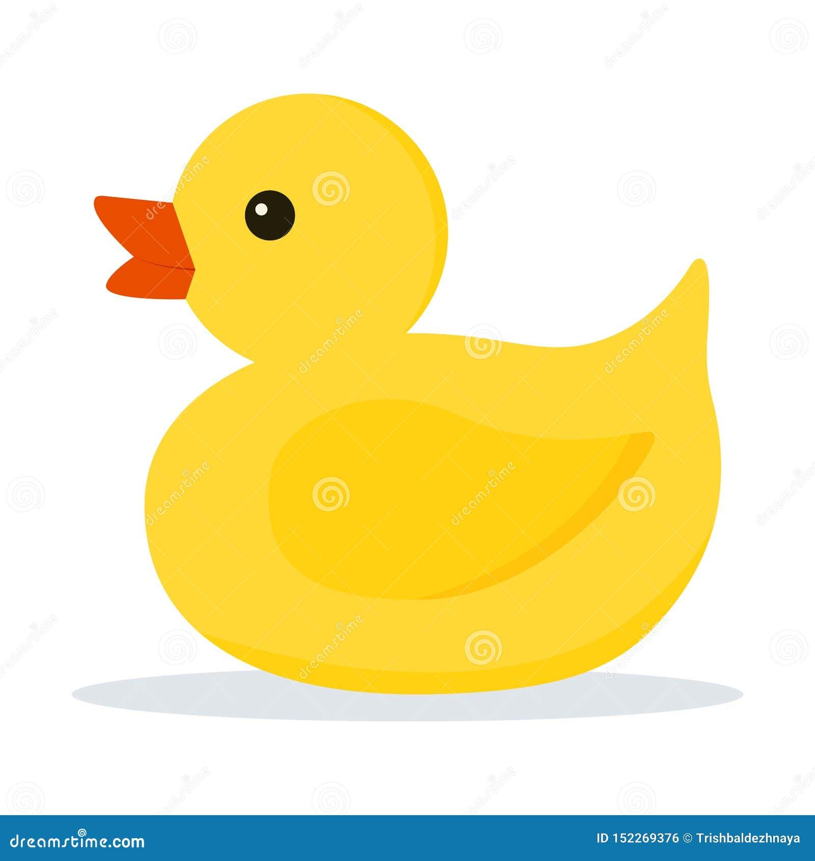Значок милой маленькой желтой резины или пластиковой игрушки утки для ванны изолированной на белой предпосылке