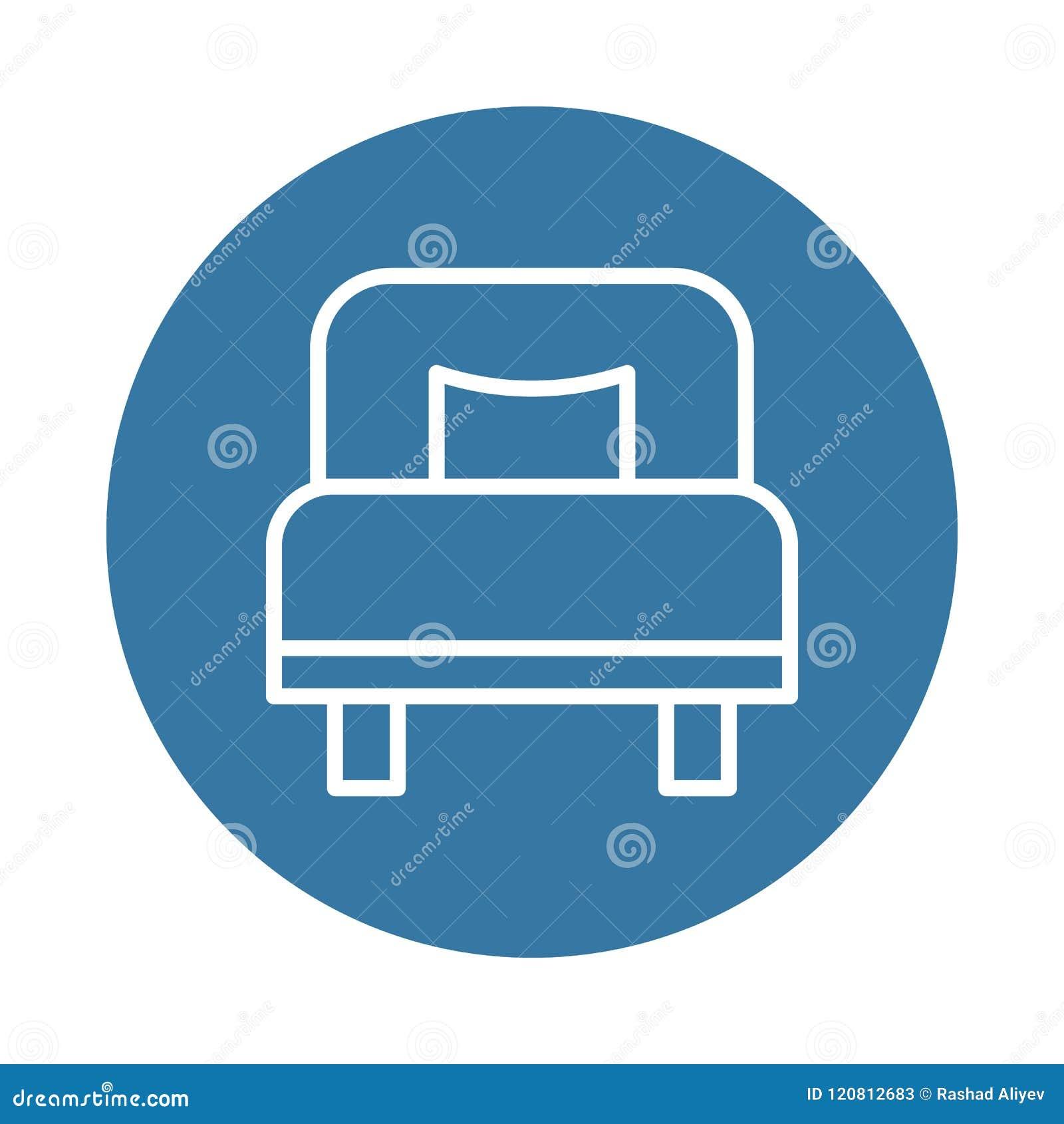 значок односпальной кровати Элемент значков гостиницы для передвижных apps концепции и сети Значок односпальной кровати стиля зна