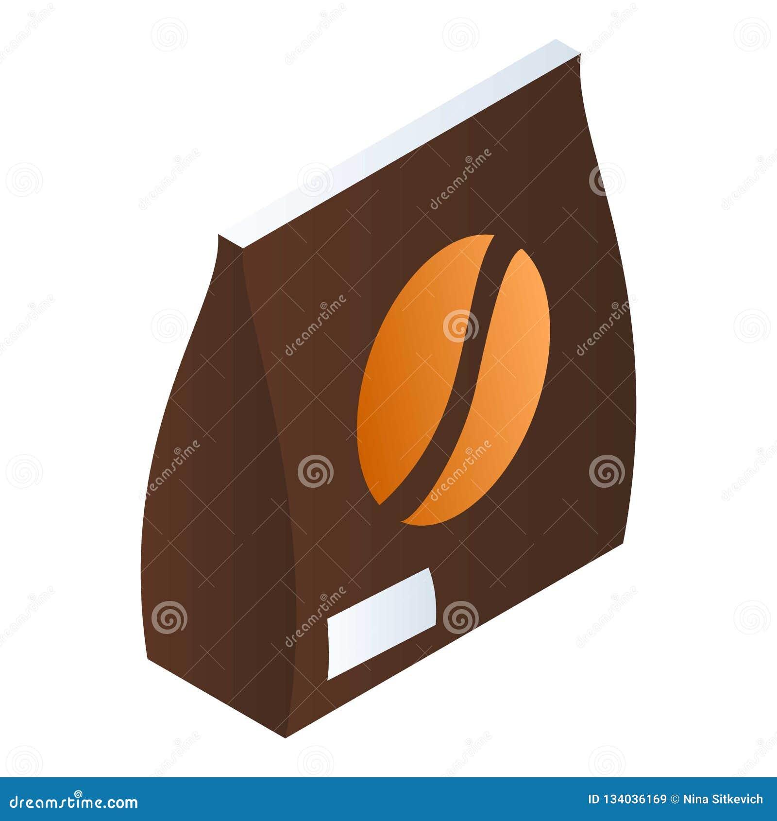 Значок пакета кофейного зерна, равновеликий стиль